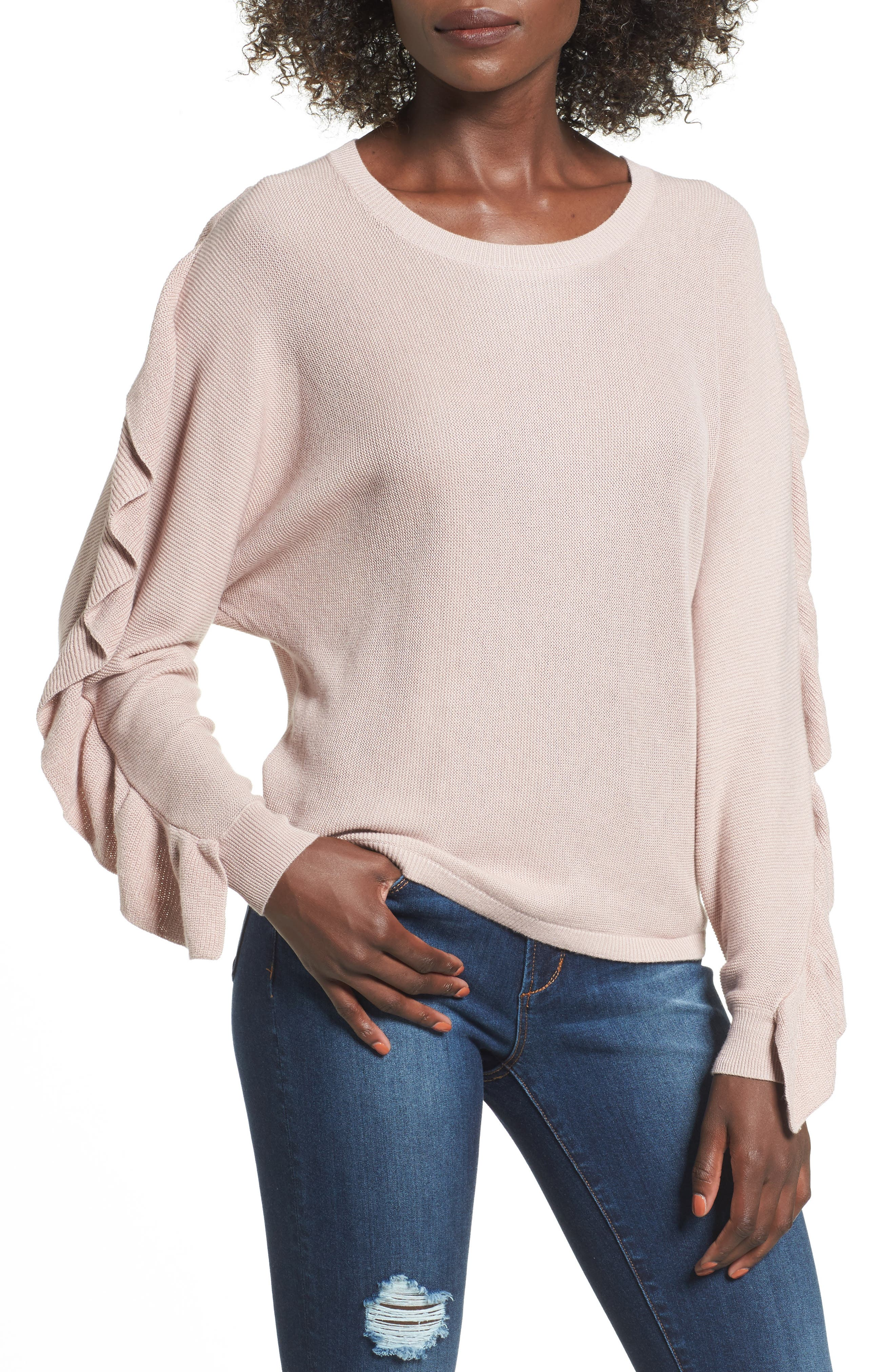 Ruffle Sleeve Sweater,                             Main thumbnail 1, color,                             Pink Adobe