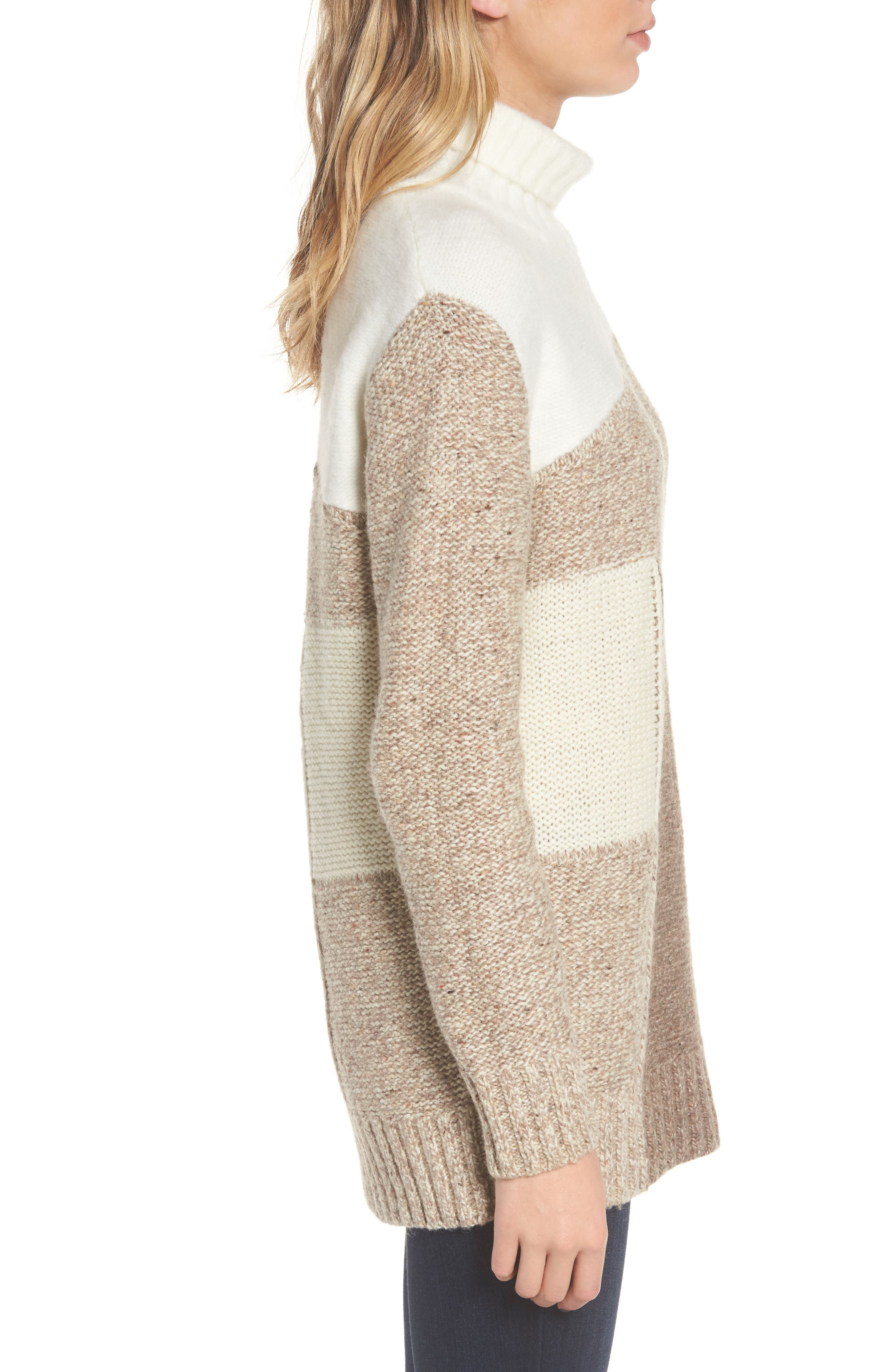 Anna Patchwork Turtleneck,                             Alternate thumbnail 3, color,                             Winter White