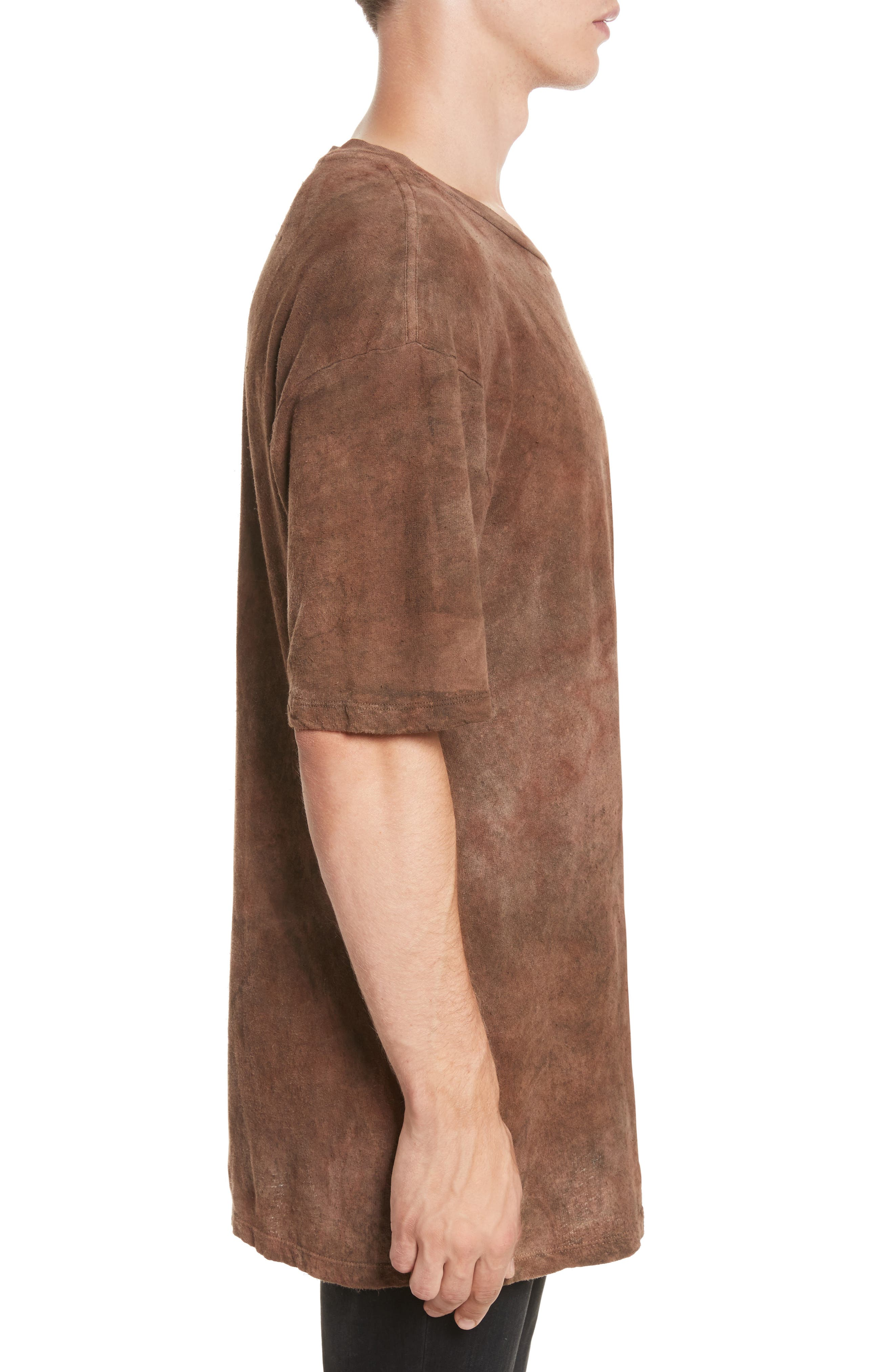 Granite Tie Dye Linen Blend T-Shirt,                             Alternate thumbnail 3, color,                             Sephia Rain