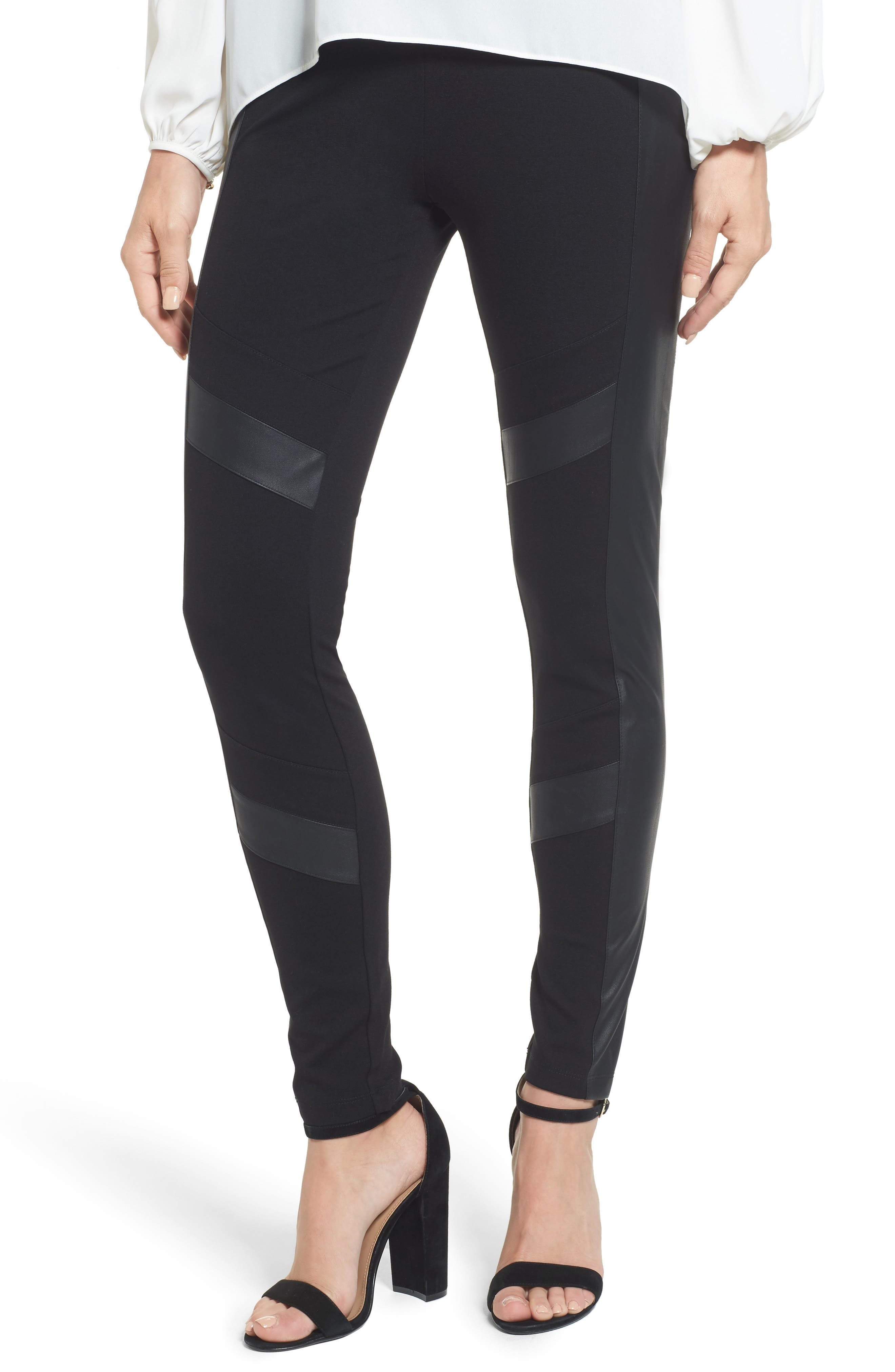 Two by Vince Camuto Faux Leather Chevron Panel Ponte Leggings