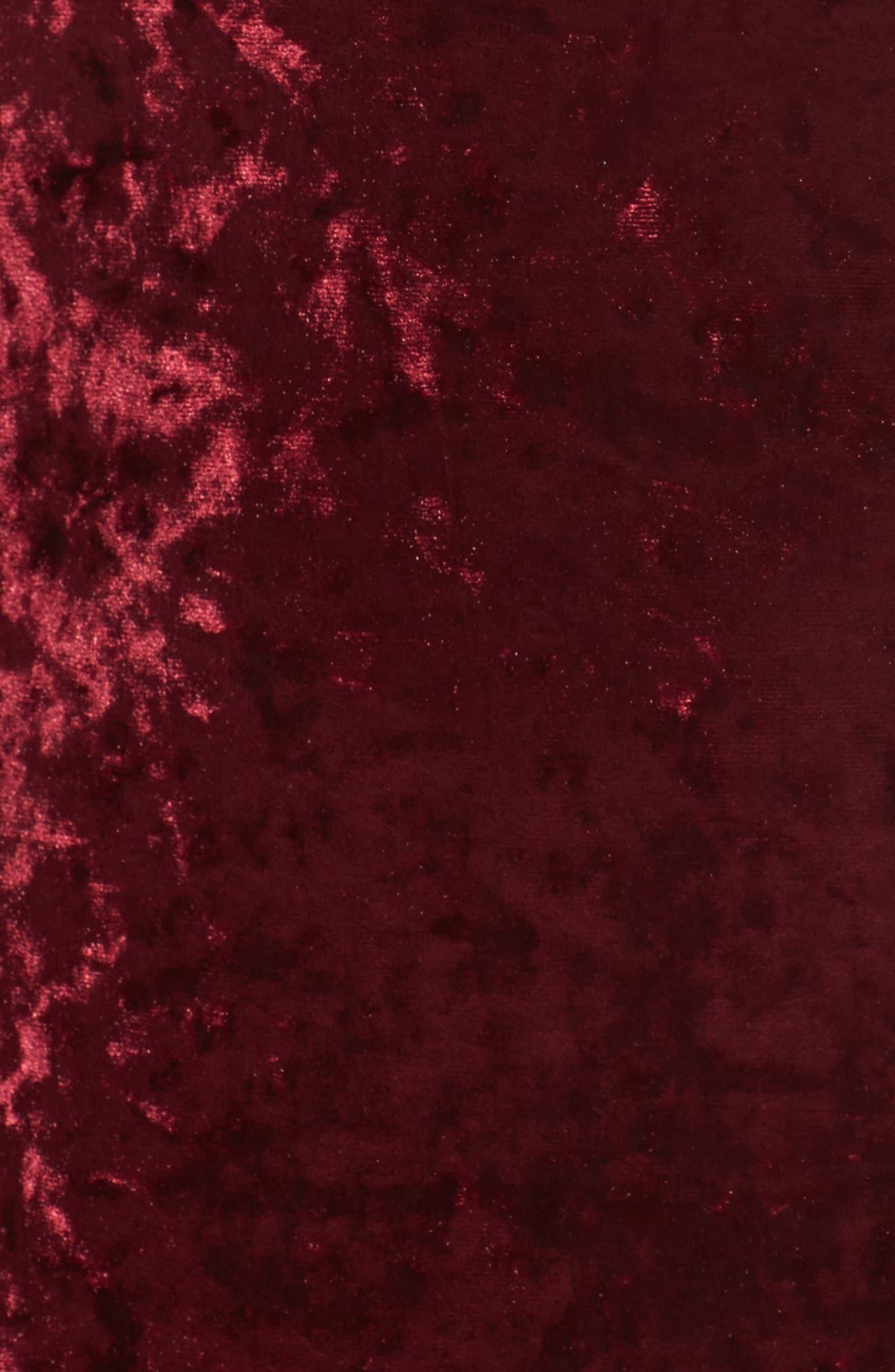 Cold Shoulder Velvet Dress,                             Alternate thumbnail 5, color,                             Burgundy