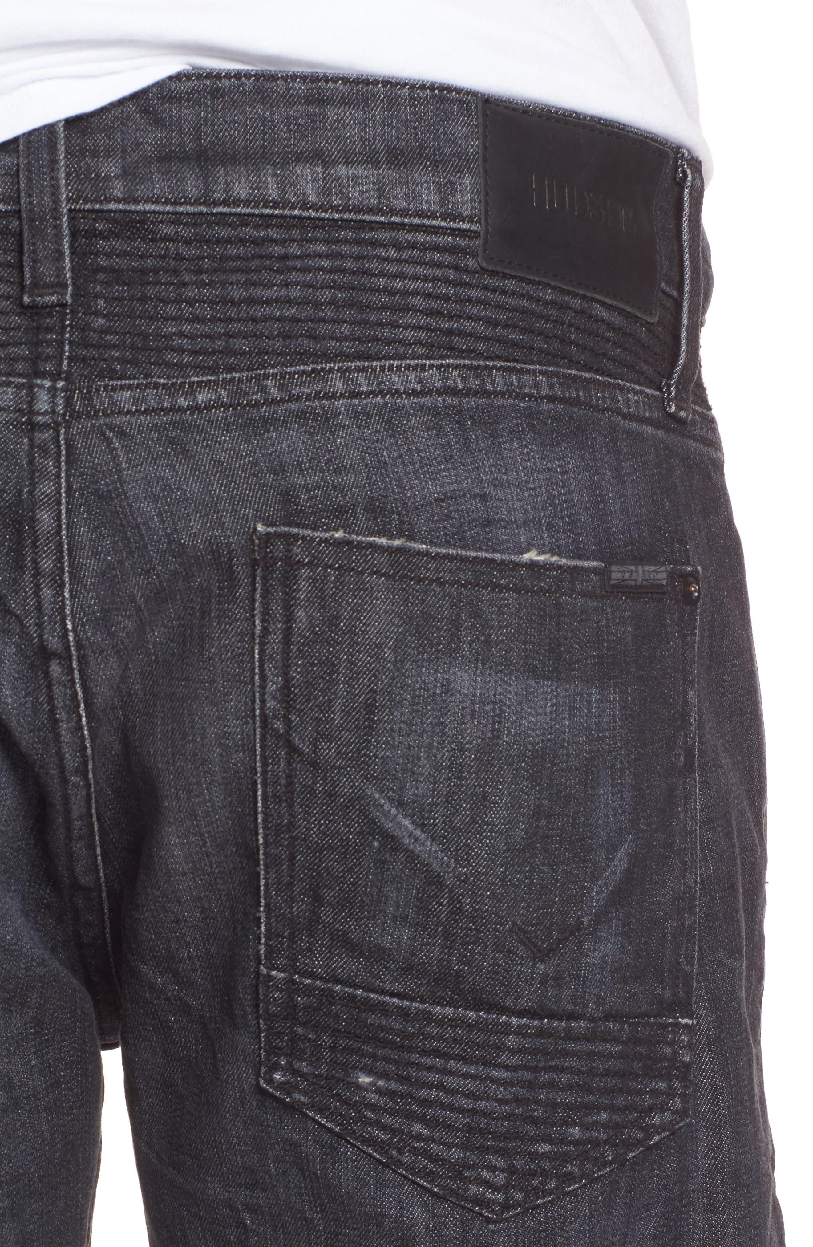 Alternate Image 4  - Hudson Jeans Blinder Biker Moto Skinny Fit Jeans (Damage)