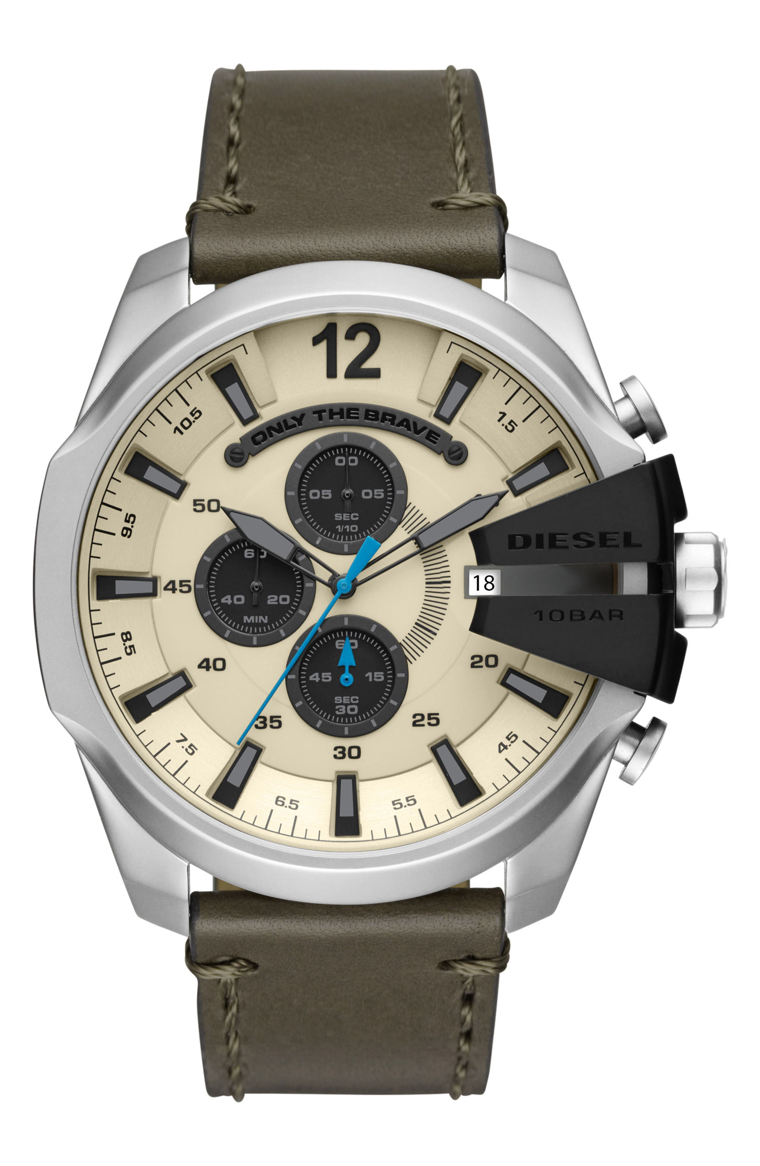 Mega Chief Chronograph Leather Strap Watch, 51mm x 59mm,                         Main,                         color, Stainless Steel