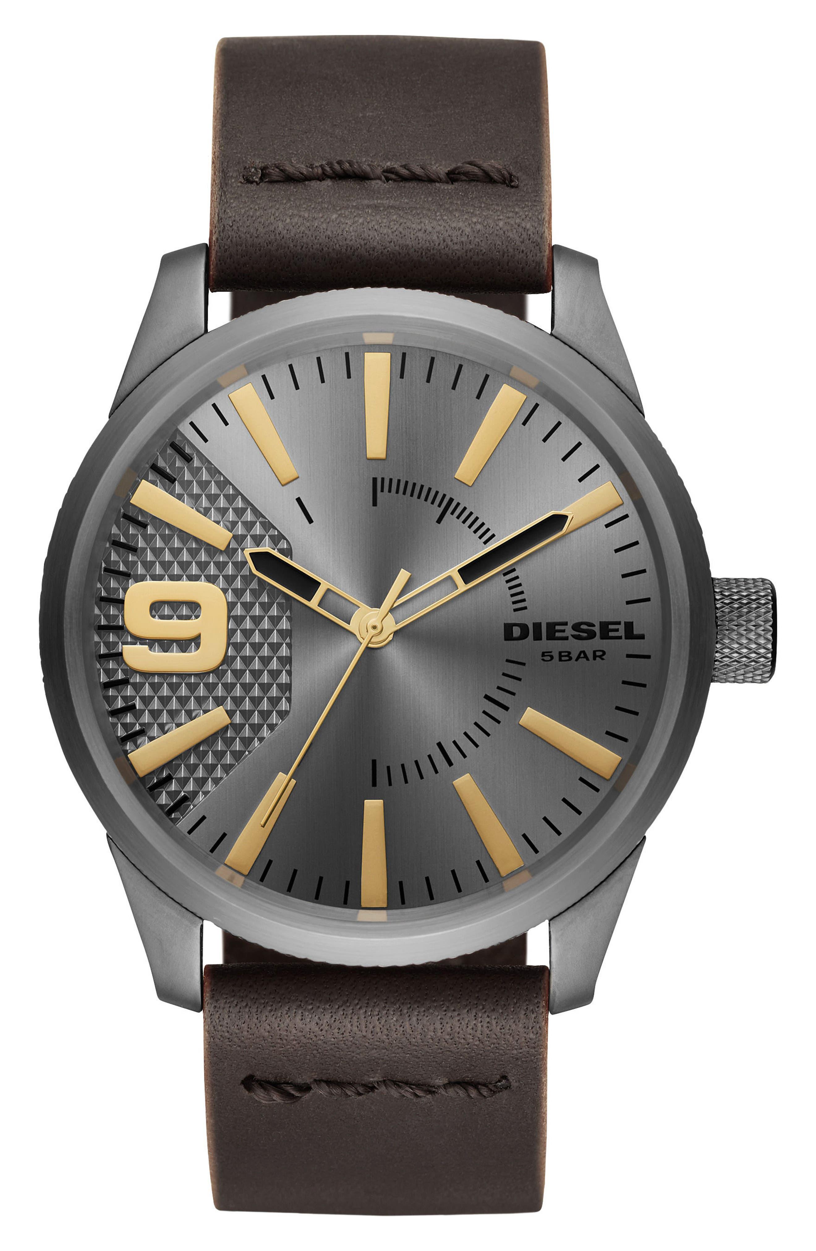 DIESEL® Rasp Leather Strap Watch, 46mm x 53mm