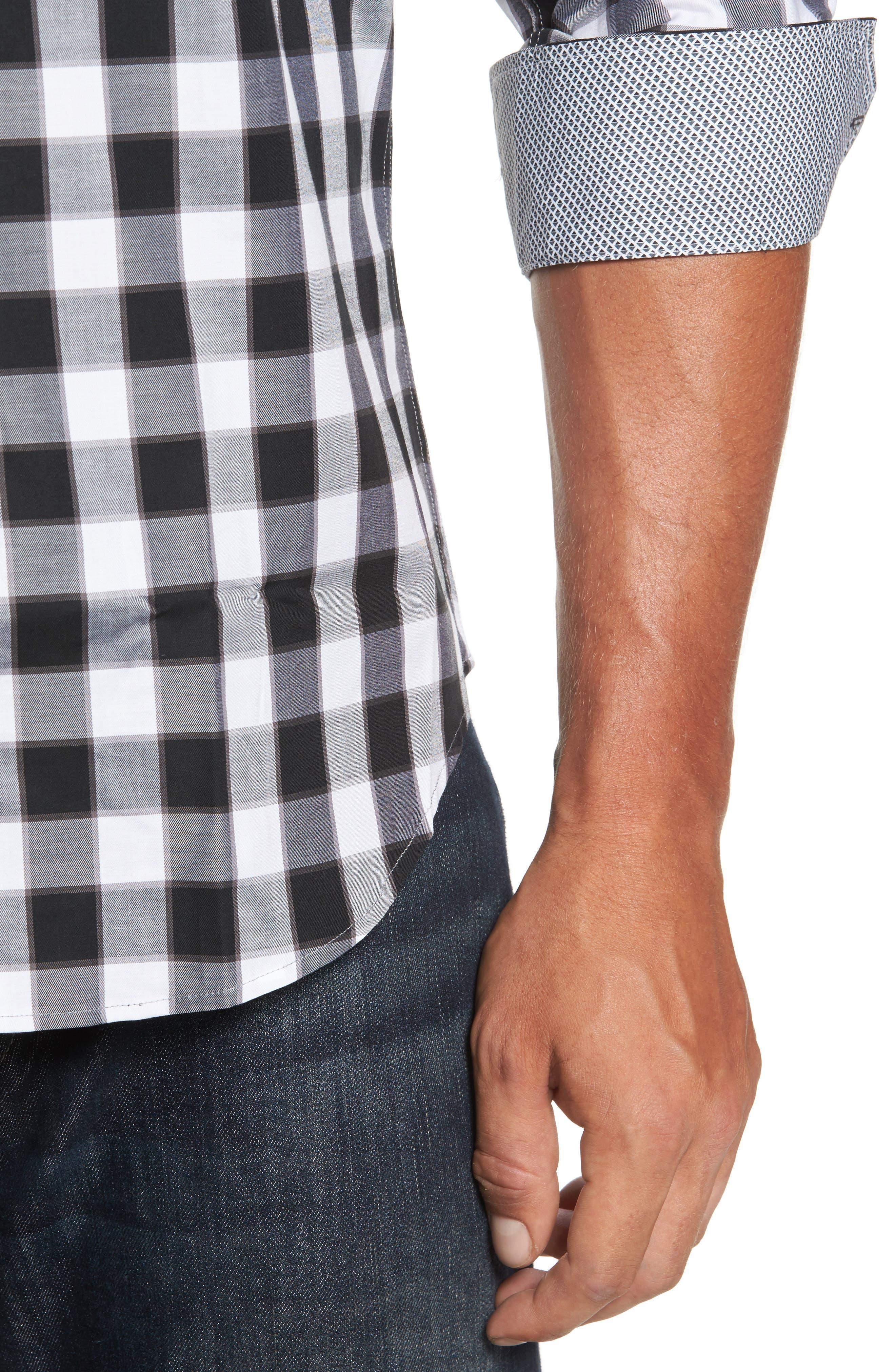Alternate Image 4  - Bugatchi Trim Fit Buffalo Plaid Sport Shirt