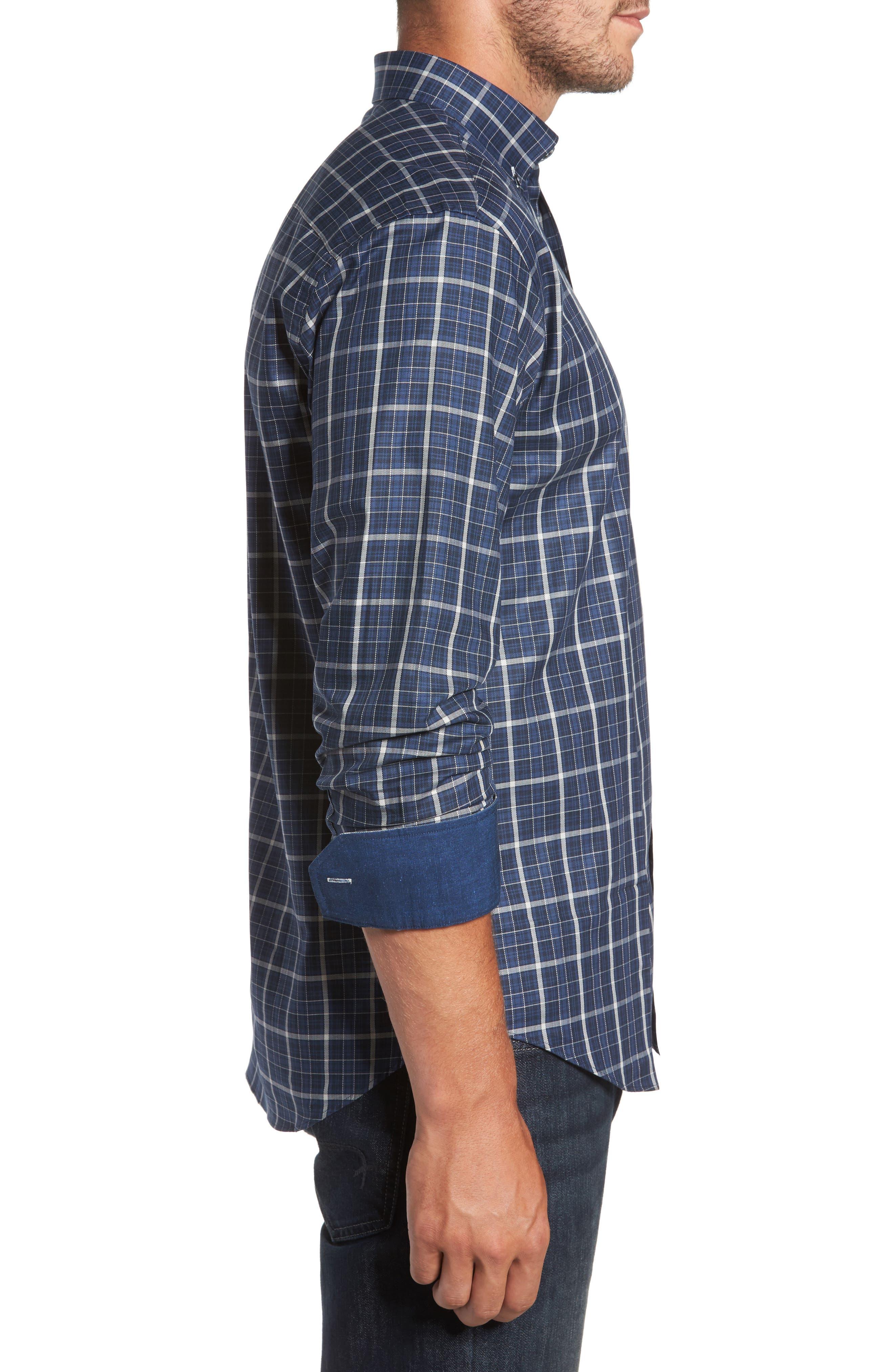 Alternate Image 3  - Bugatchi Trim Fit Windowpane Sport Shirt