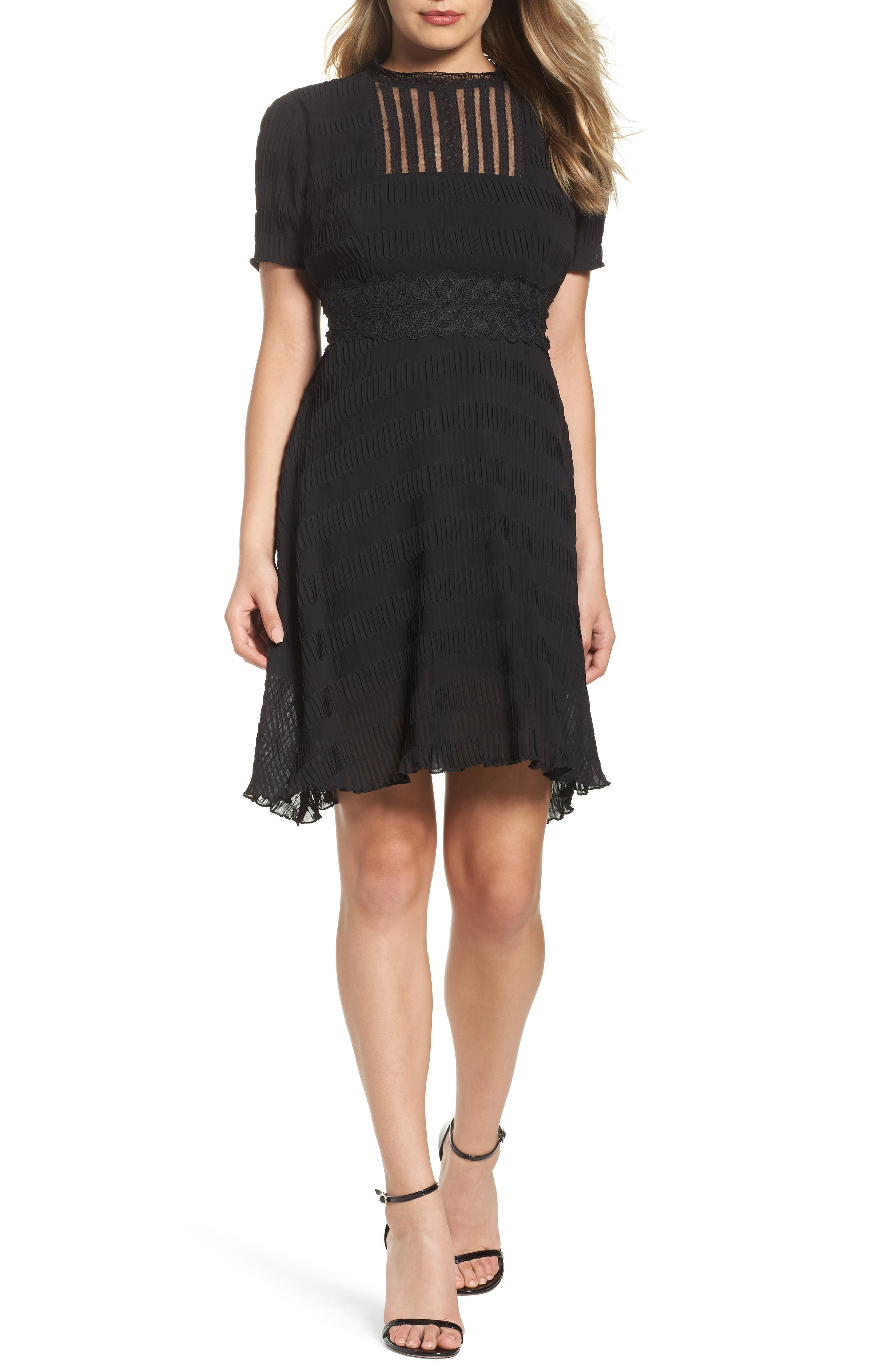 Isadora Lace Trim Pintuck Fit & Flare Dress,                         Main,                         color, Black