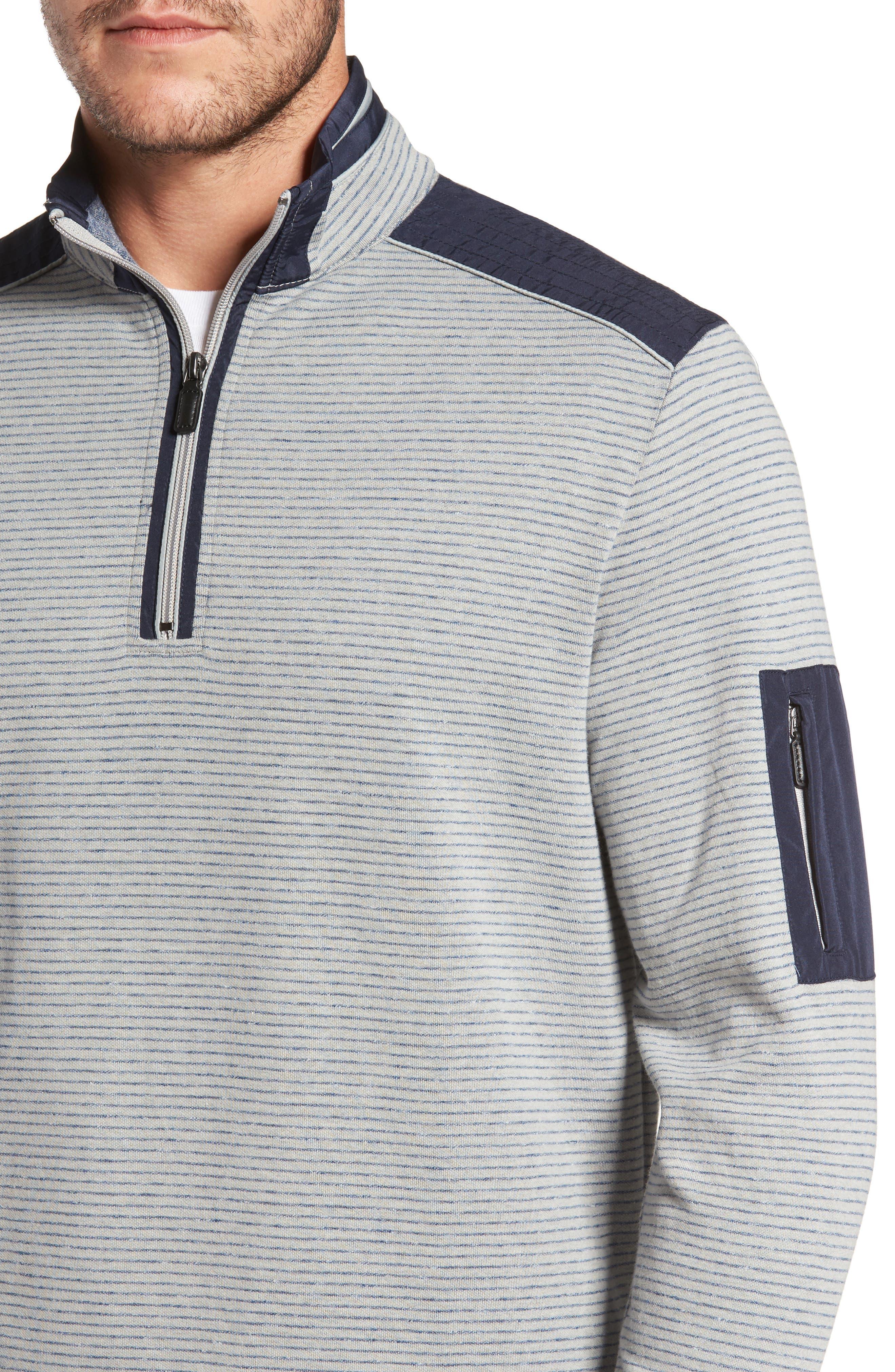 Classic Fit Pinstripe Quarter Zip Pullover,                             Alternate thumbnail 4, color,                             Cement
