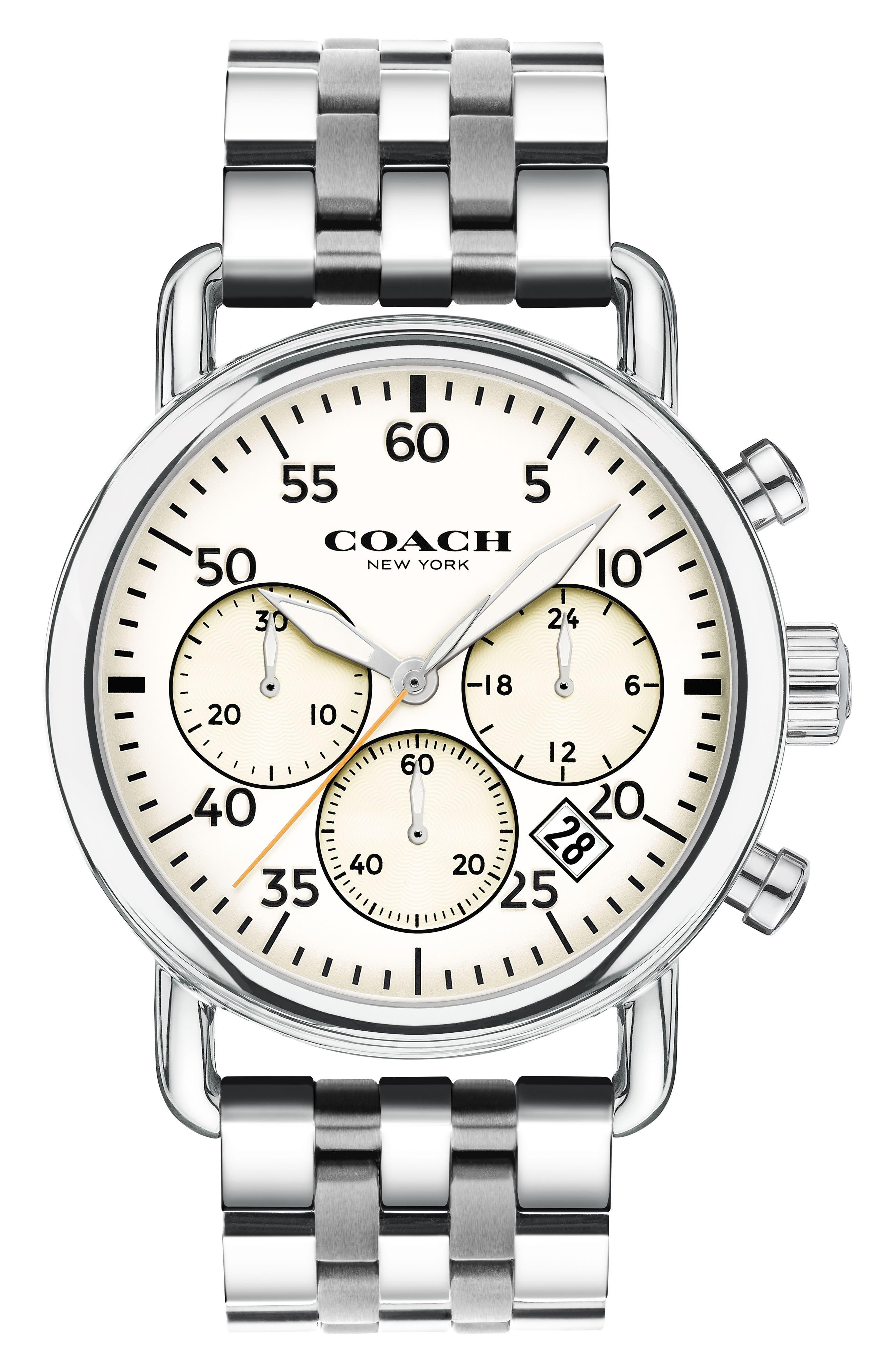 Delancey Chronograph Bracelet Watch, 42mm,                         Main,                         color, Silver/ White/ Silver