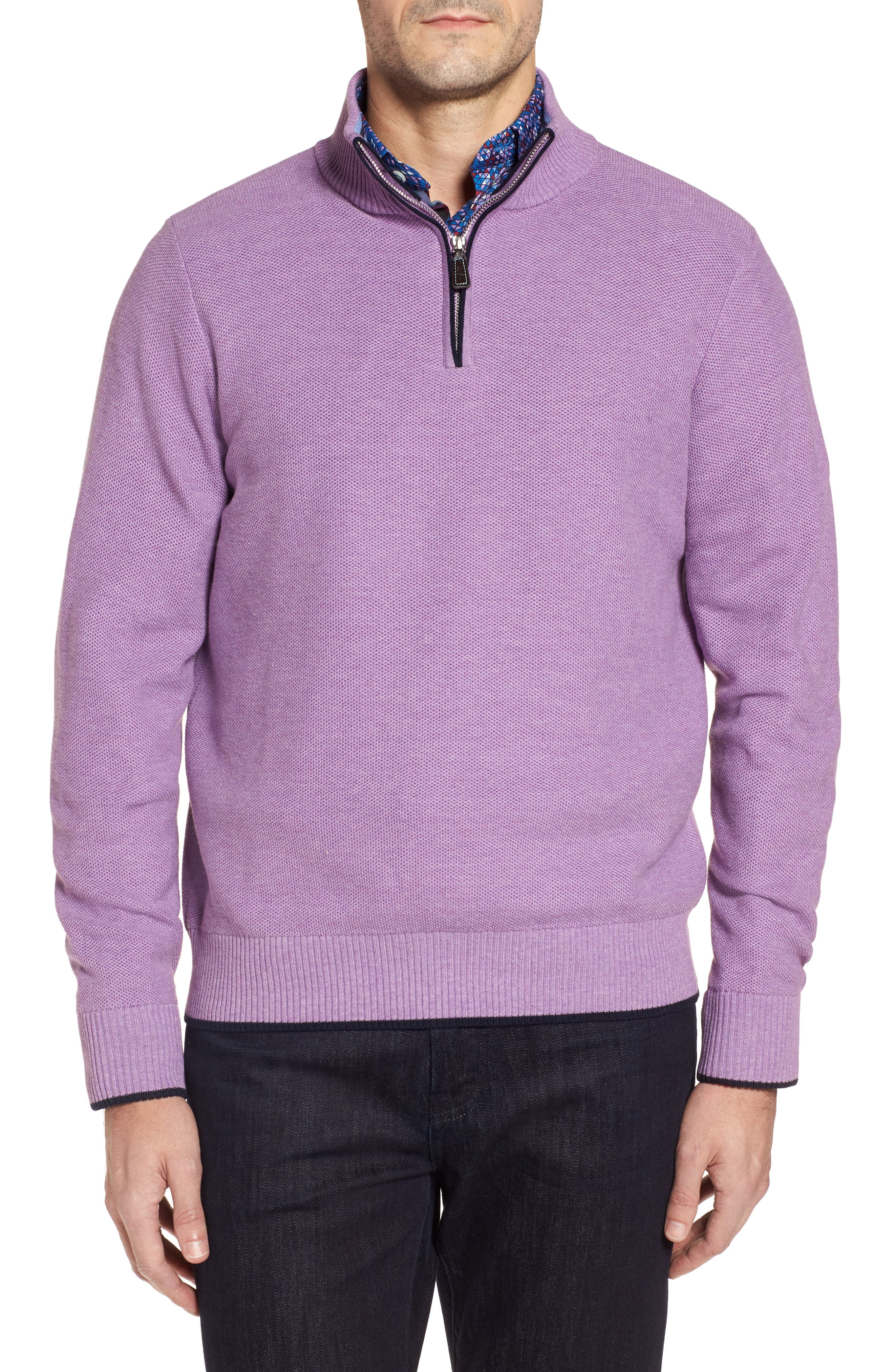 Alternate Image 1 Selected - TailorByrd Ossun Tipped Quarter Zip Sweater
