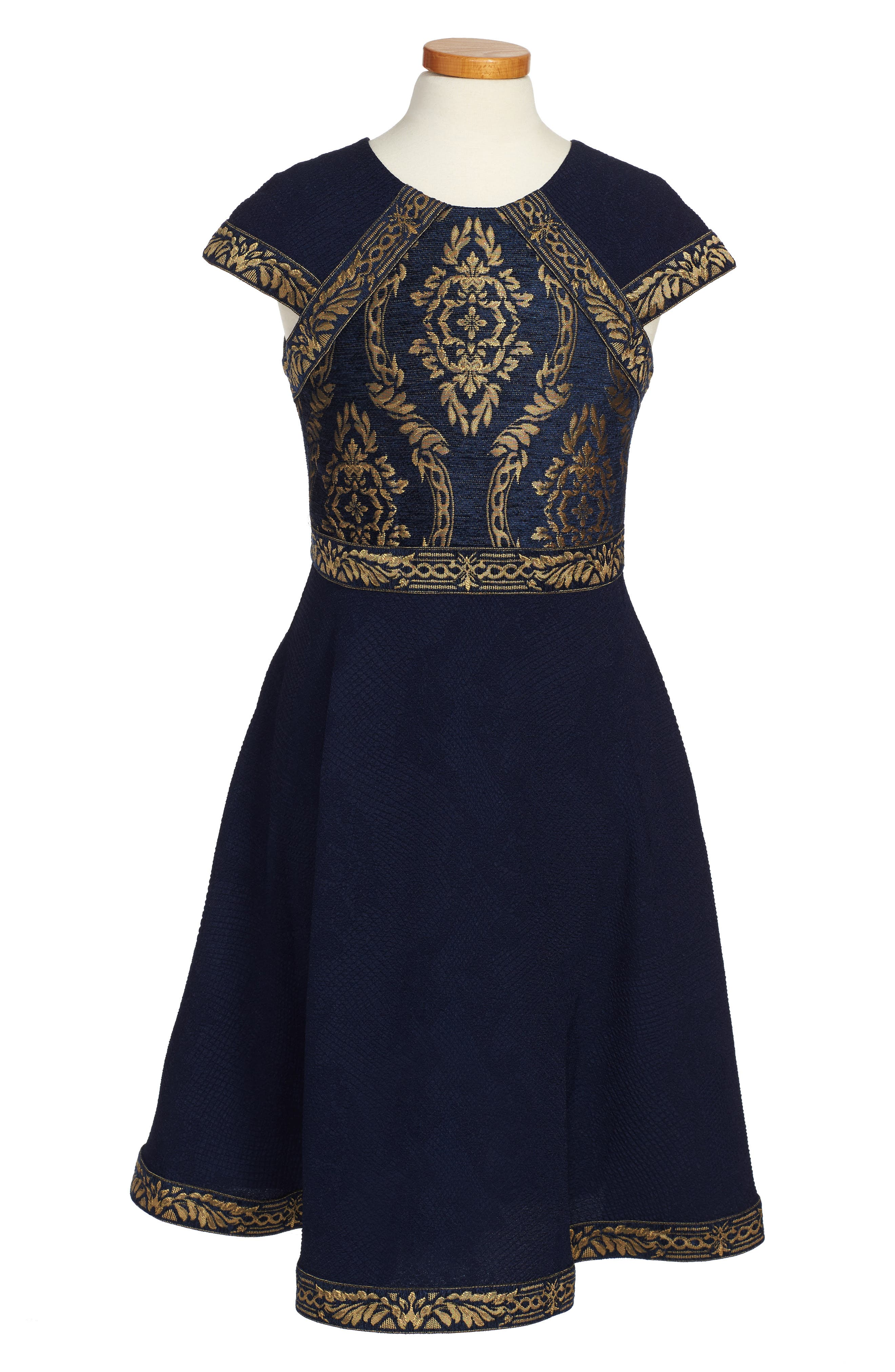 Brocade Embroidery Party Dress,                             Main thumbnail 1, color,                             Navy/ Gold