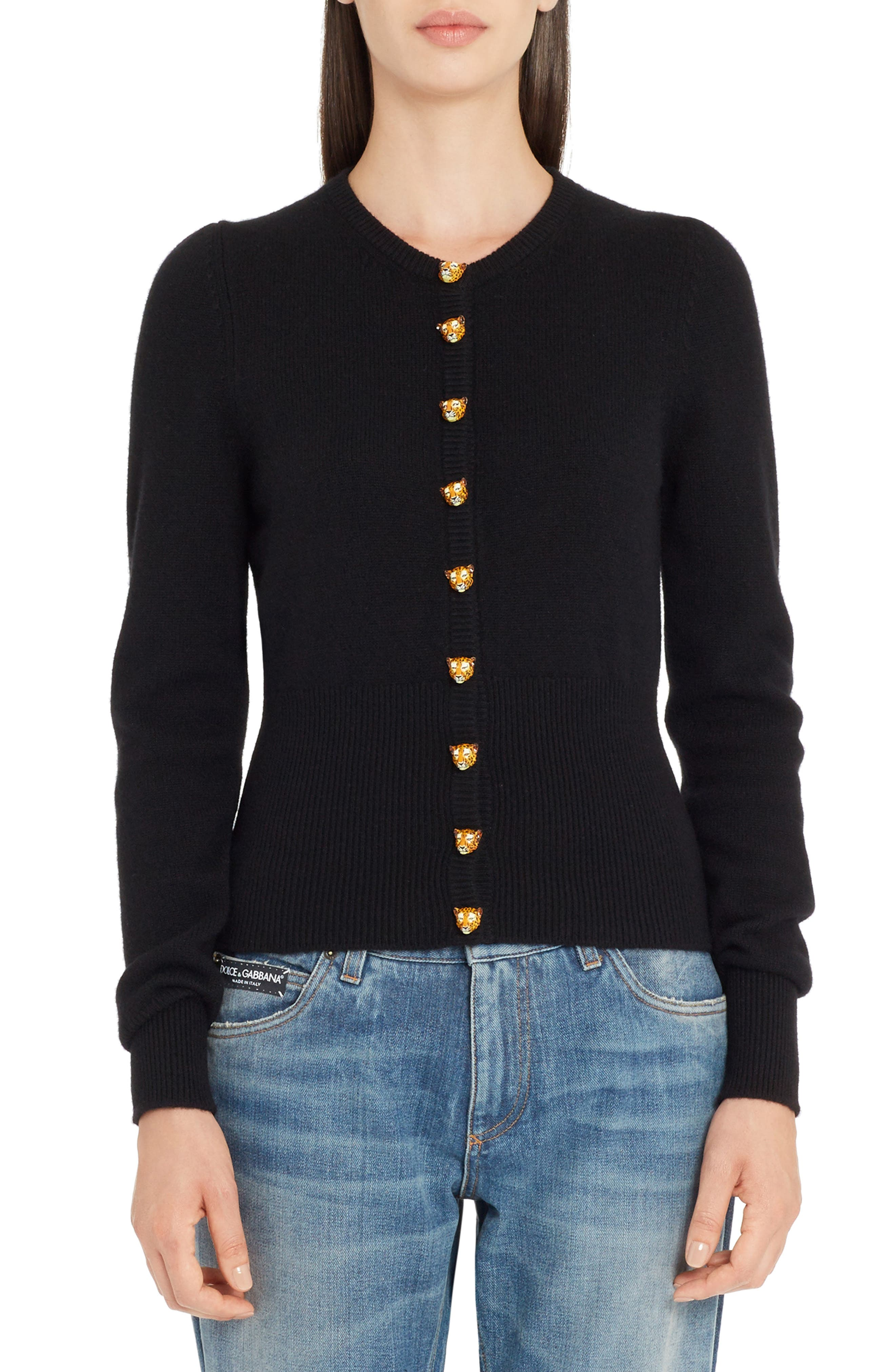 Leo Button Cashmere Cardigan,                         Main,                         color, Black