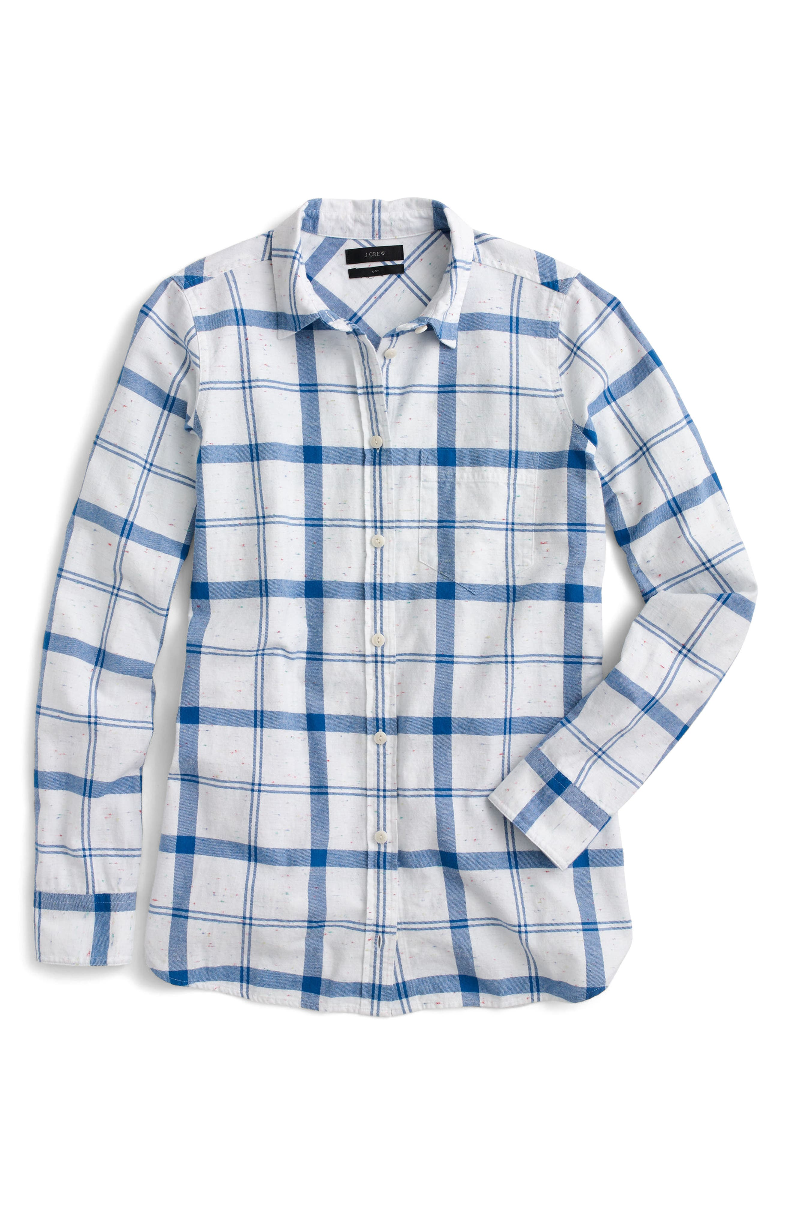 J.Crew Confetti Plaid Boy Shirt,                             Alternate thumbnail 4, color,                             White Blue