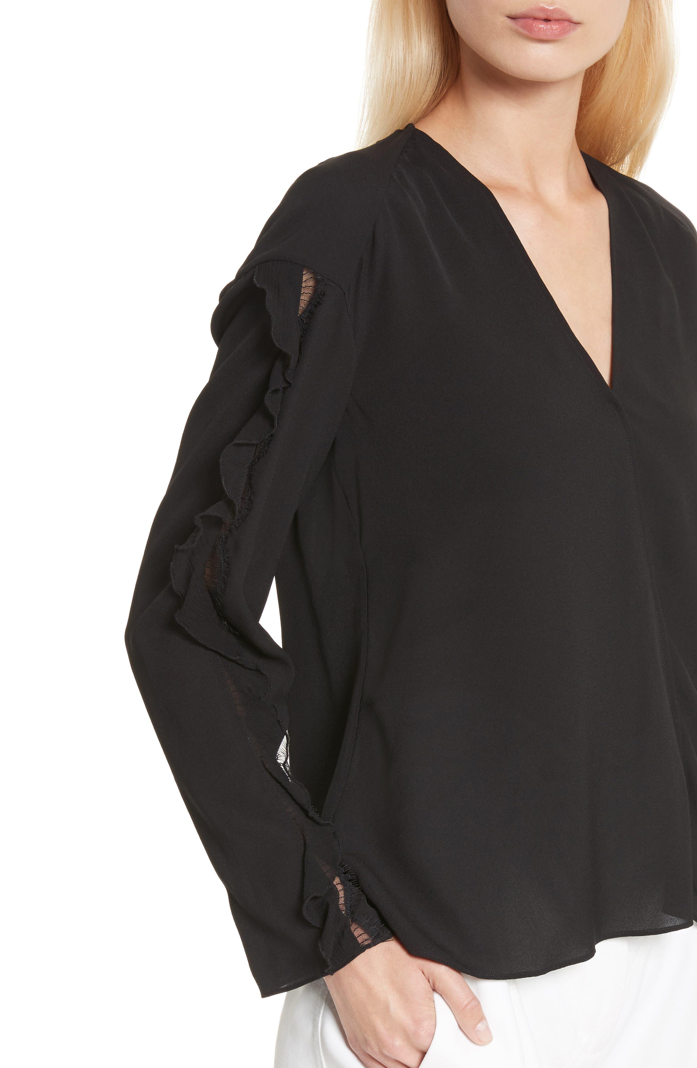 Ruffle Sleeve Silk Blouse,                             Alternate thumbnail 4, color,                             Black