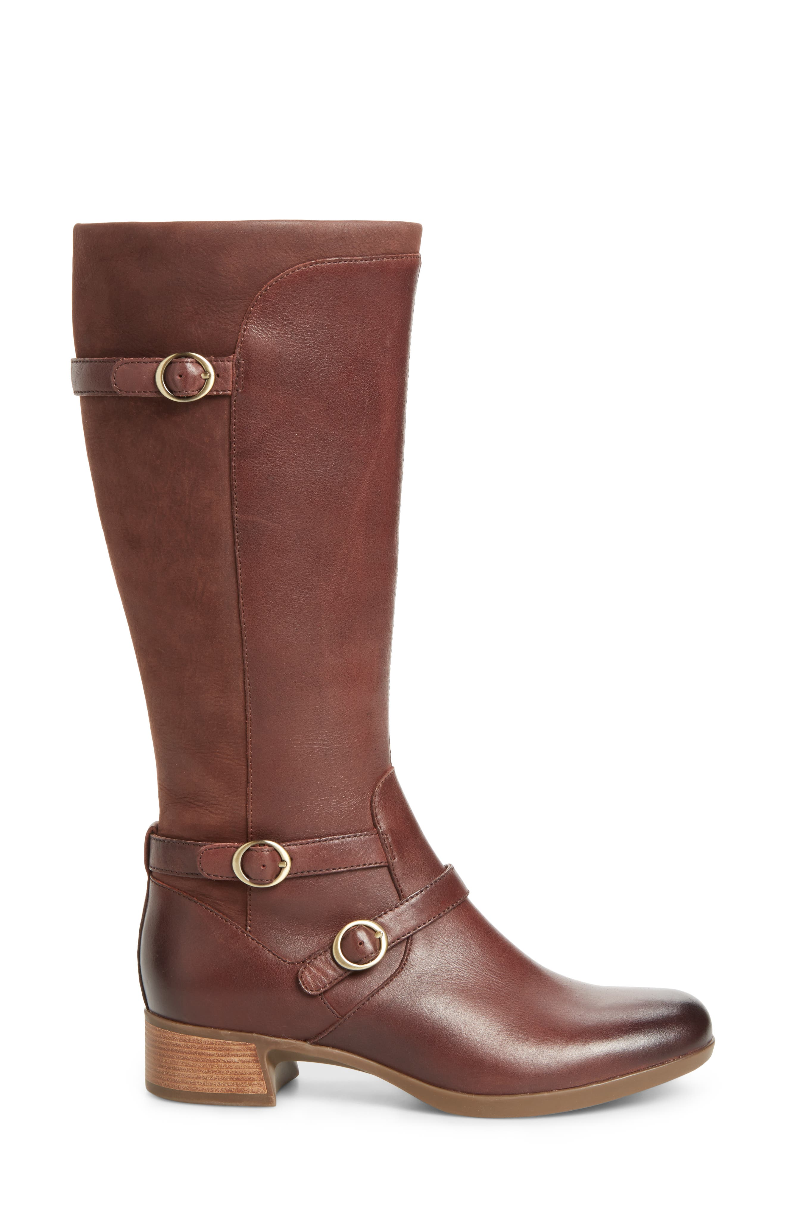 Lorna Tall Boot,                             Alternate thumbnail 3, color,                             Wine Burnished Nappa Leather