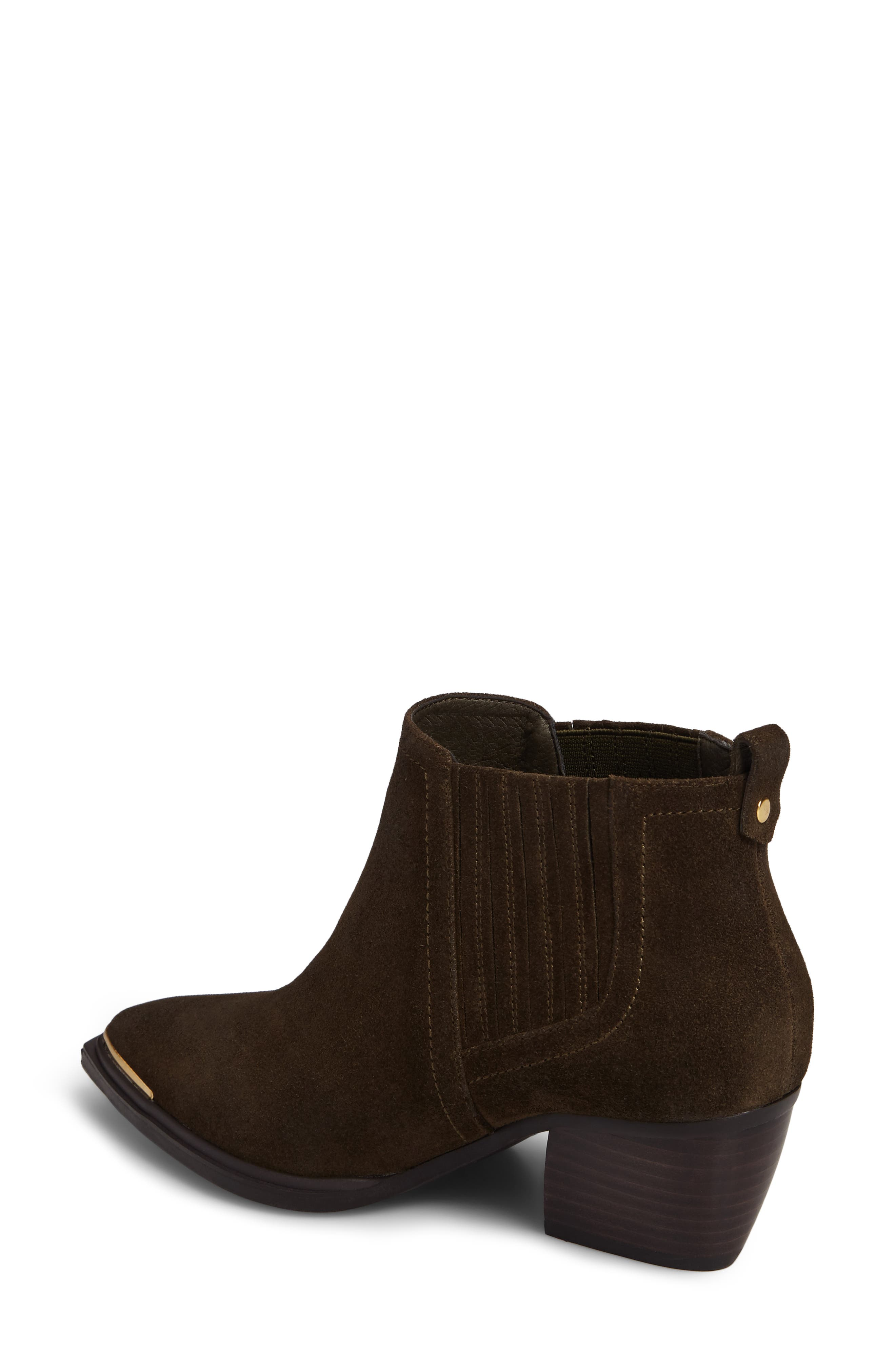 Cardinal Pointy Toe Bootie,                             Alternate thumbnail 2, color,                             Khaki Suede