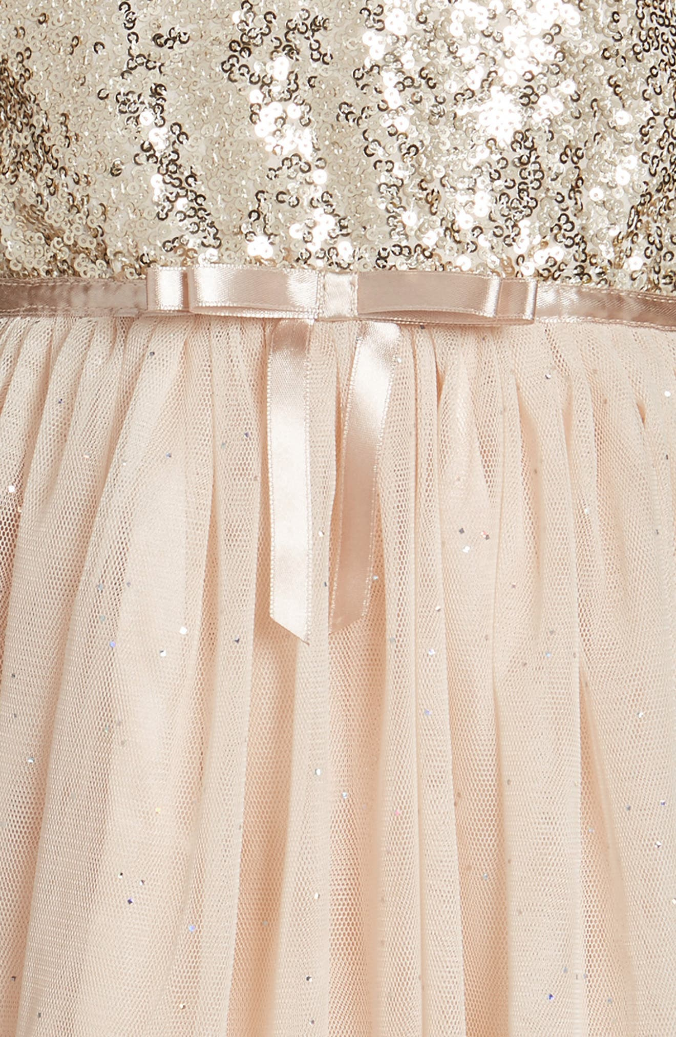 Sequin Bodice Tulle Dress,                             Alternate thumbnail 3, color,                             Ivory/ Gold