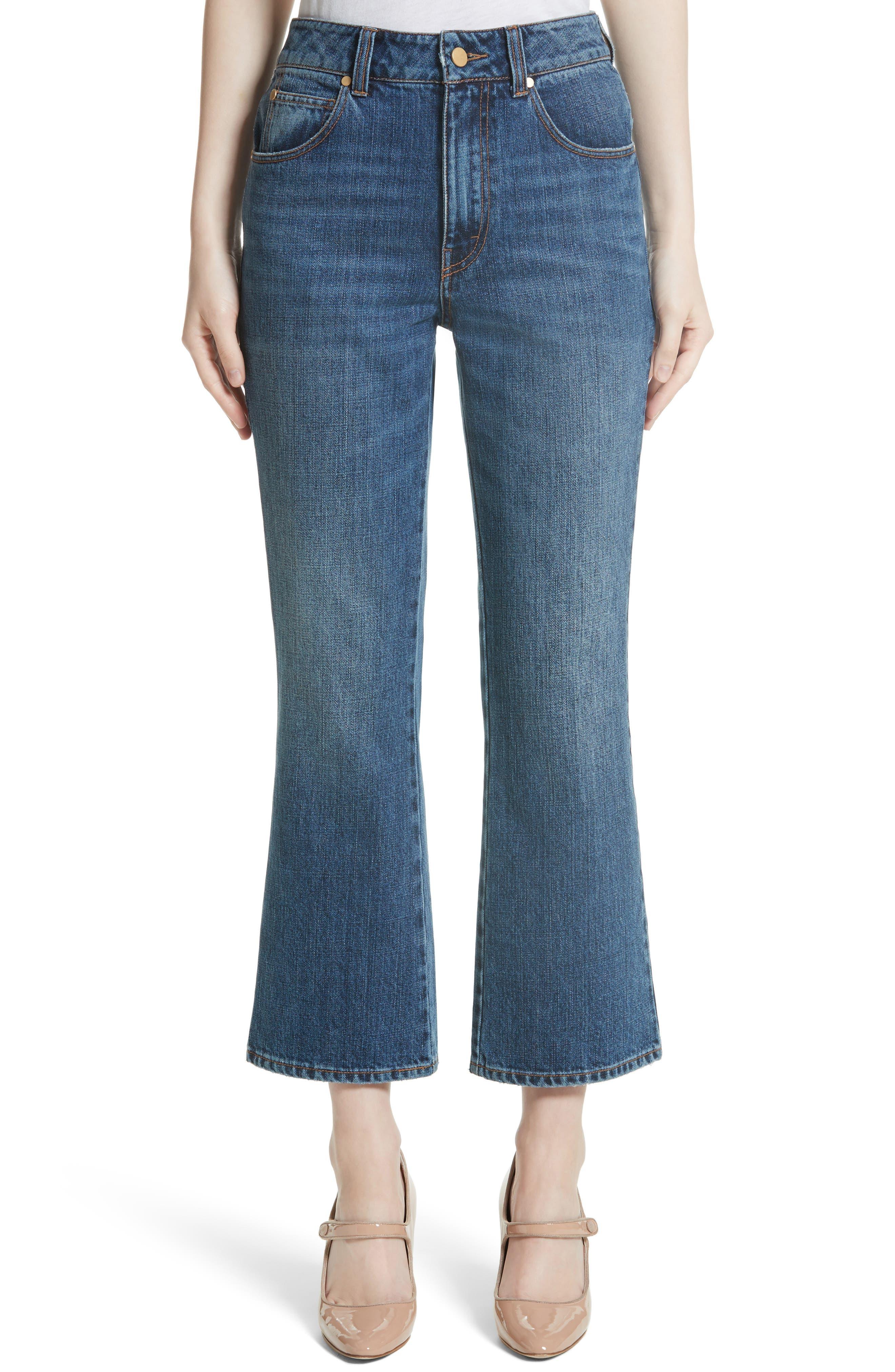 Ankle Flare High Waist Jeans,                         Main,                         color, Indigo