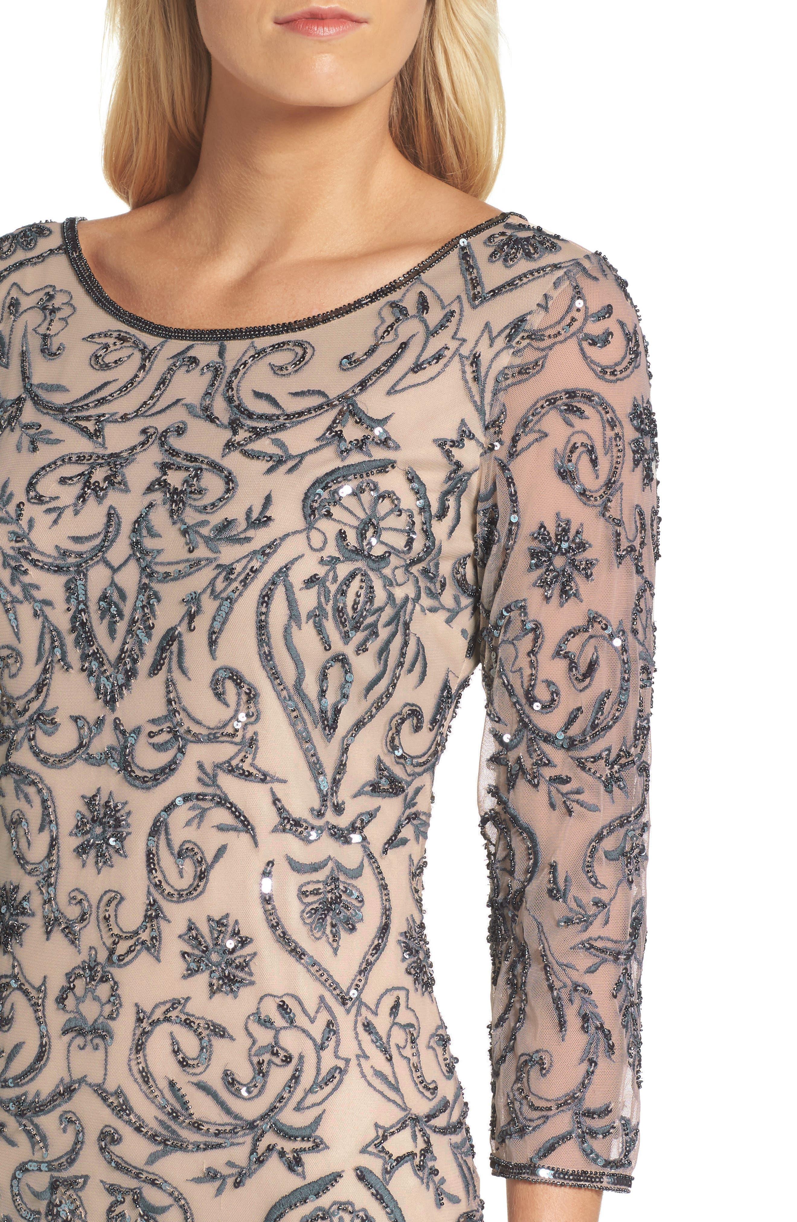 Alternate Image 4  - Pisarro Nights Sequin Embroidered Sheath Dress (Regular & Petite)