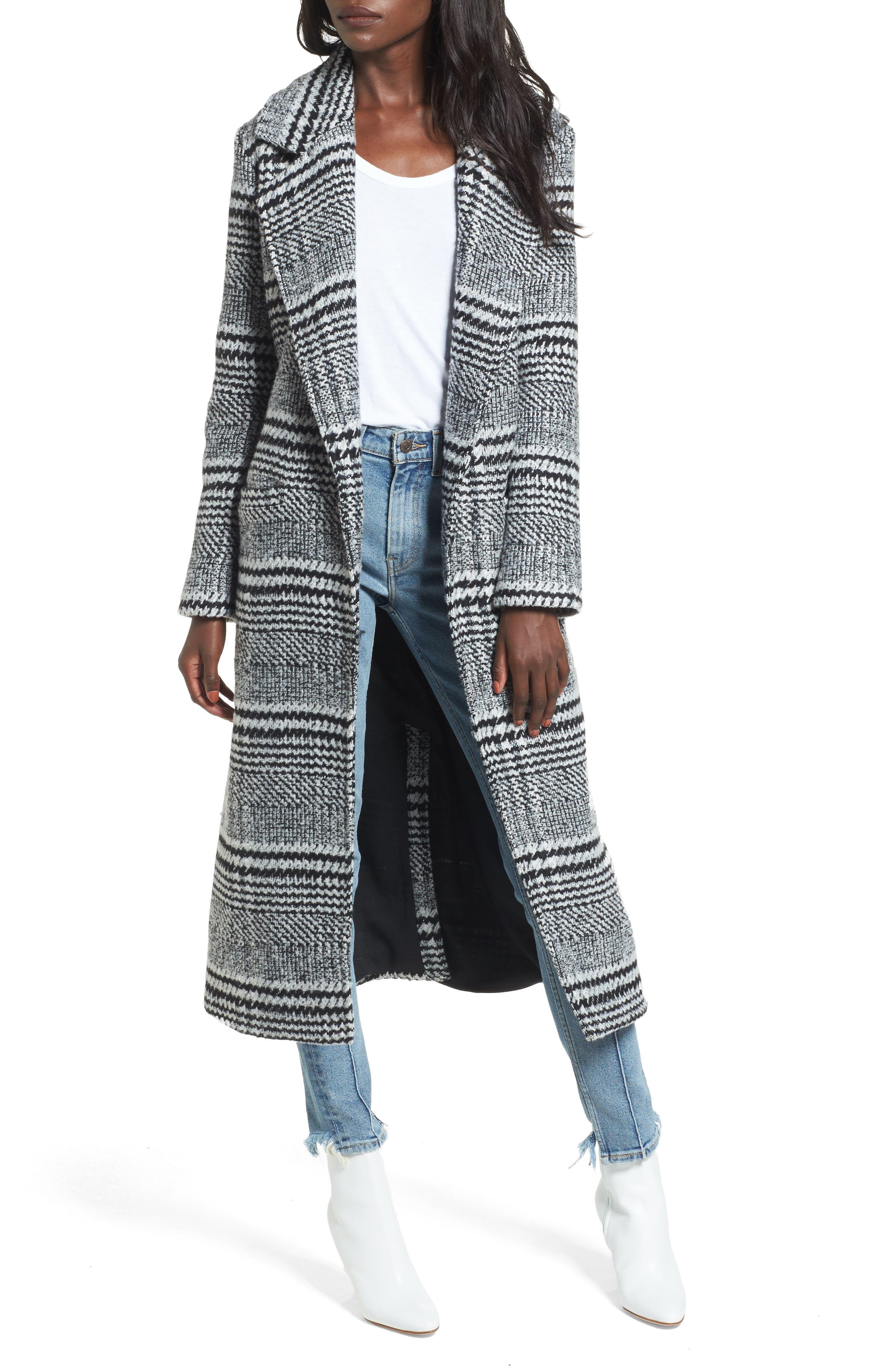 Sabra Longline Plaid Coat,                         Main,                         color, Black Check