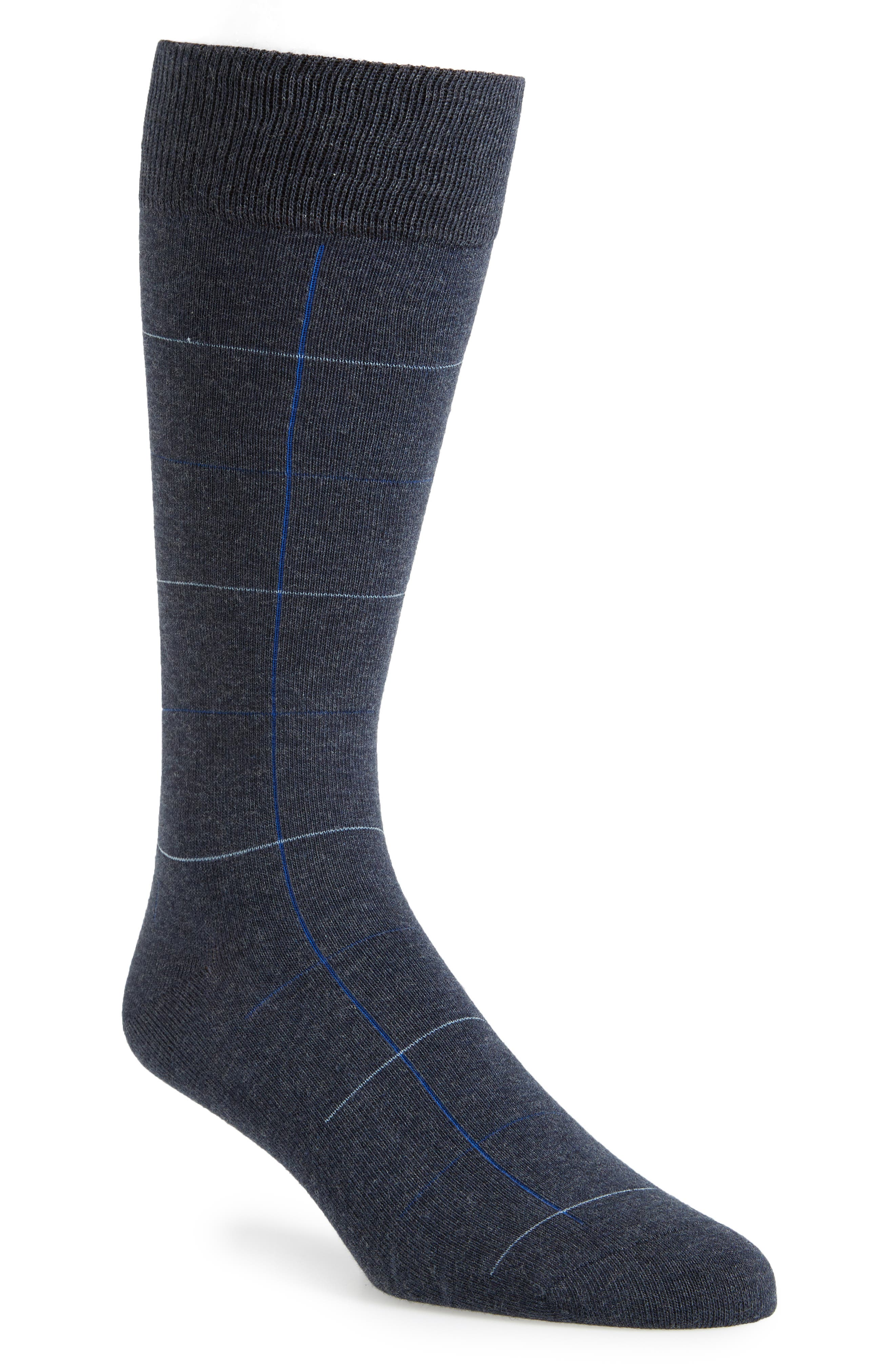 Check Socks,                         Main,                         color, Navy Heather