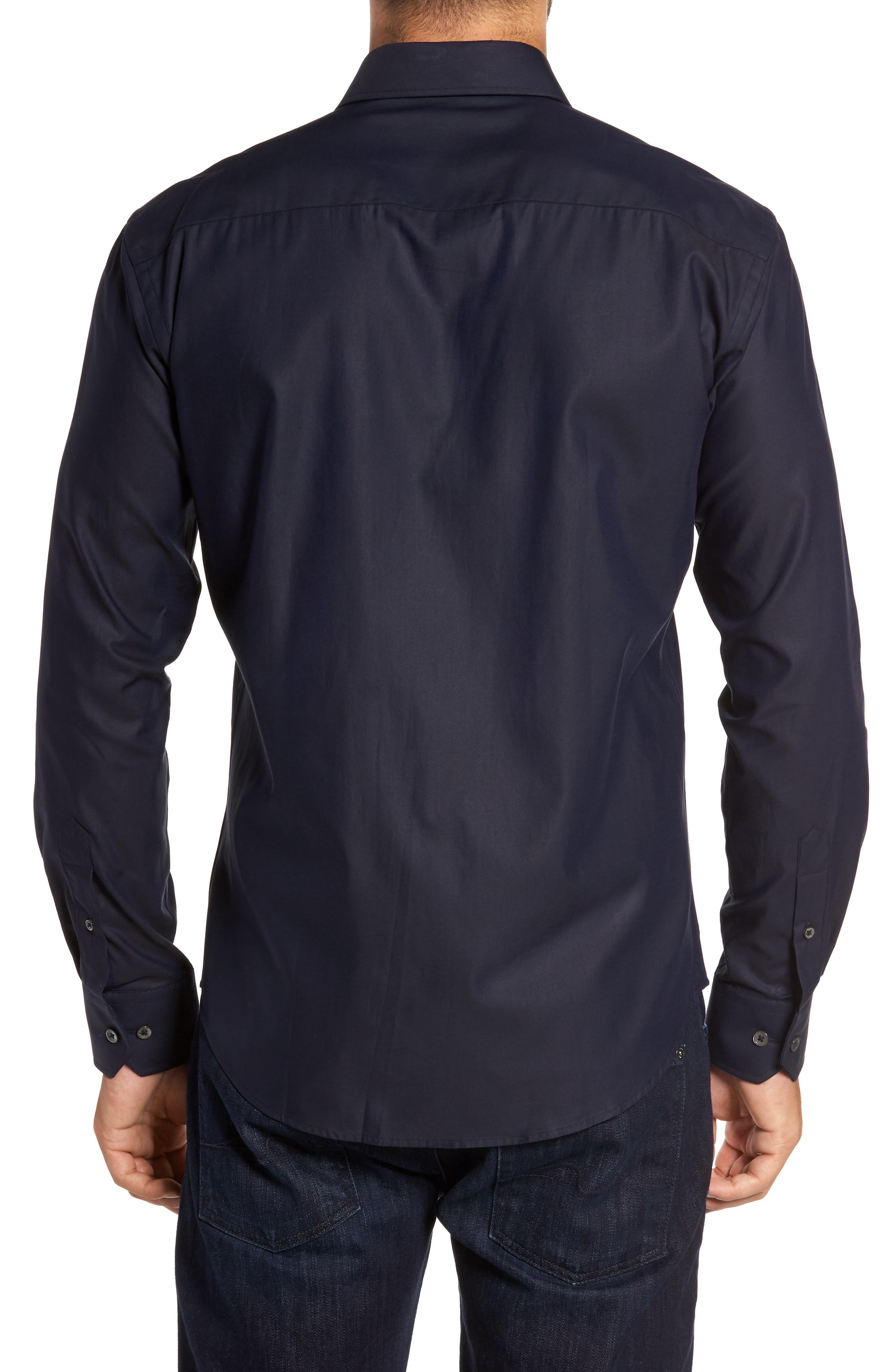Trim Fit Solid Sport Shirt,                             Alternate thumbnail 2, color,                             Midnight