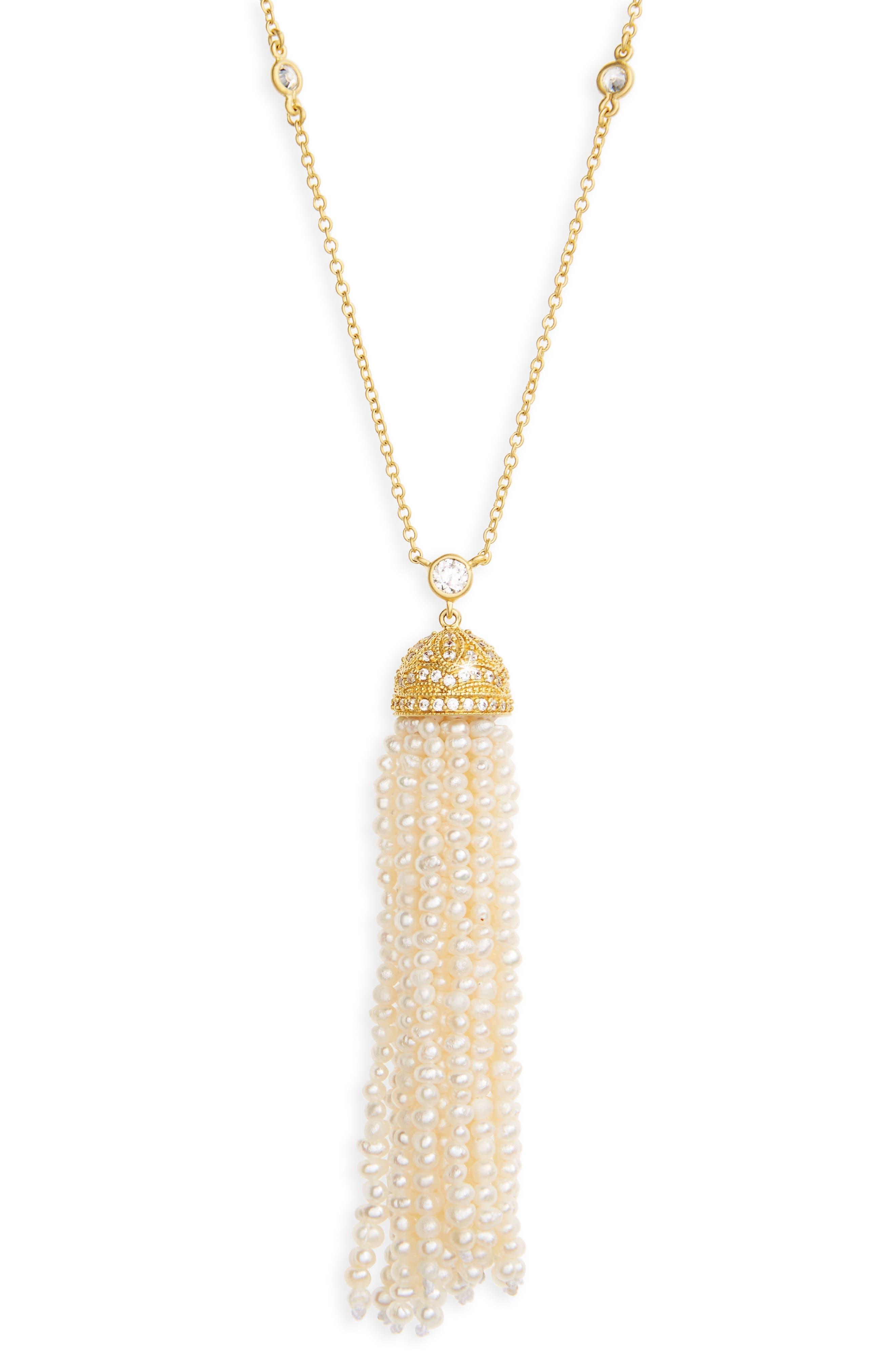 Audrey Tassel Pendant Pearl Necklace,                             Alternate thumbnail 2, color,                             Gold/ Pearl