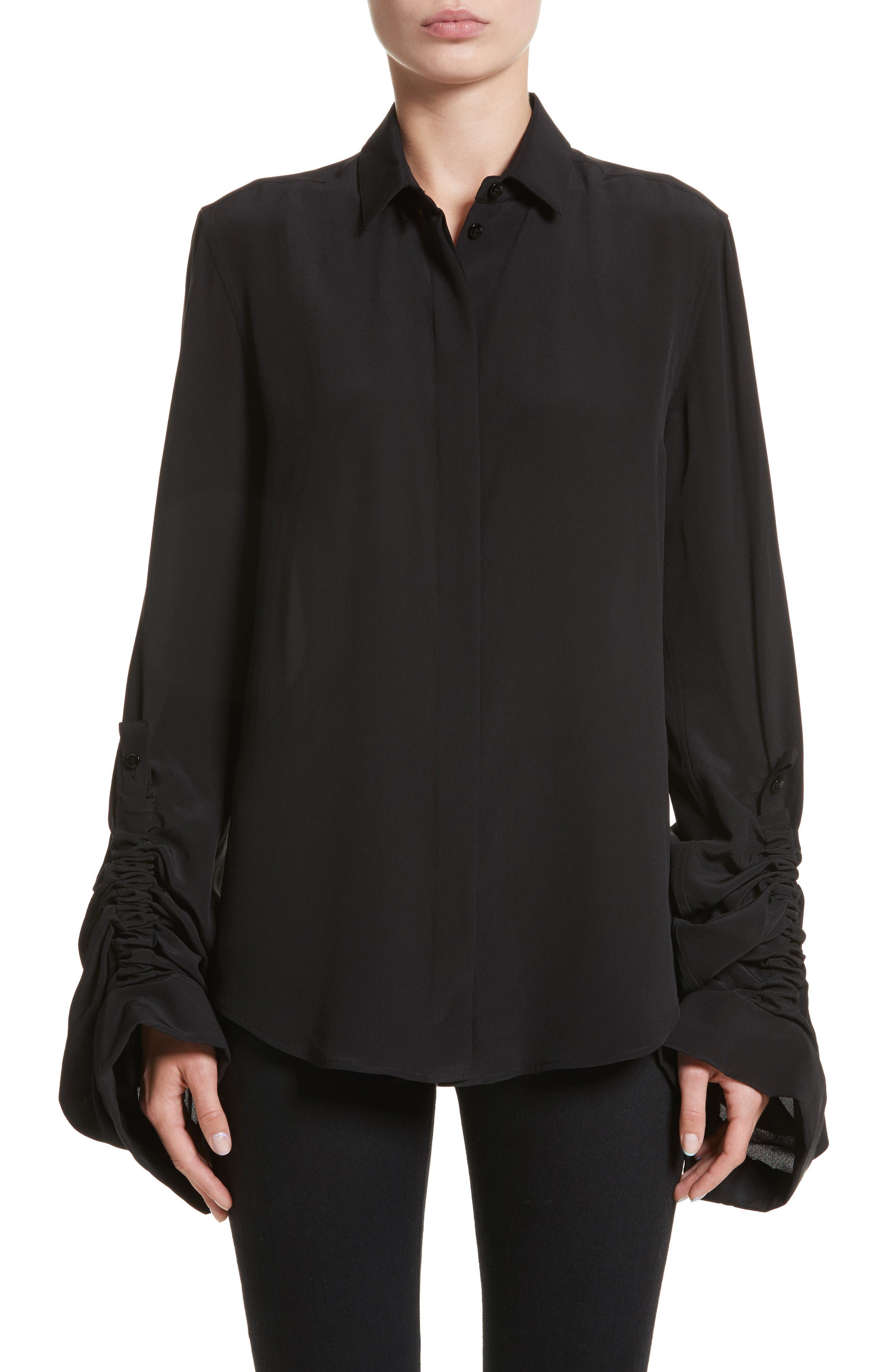 Exaggerated Sleeve Silk Blouse,                             Main thumbnail 1, color,                             Noir
