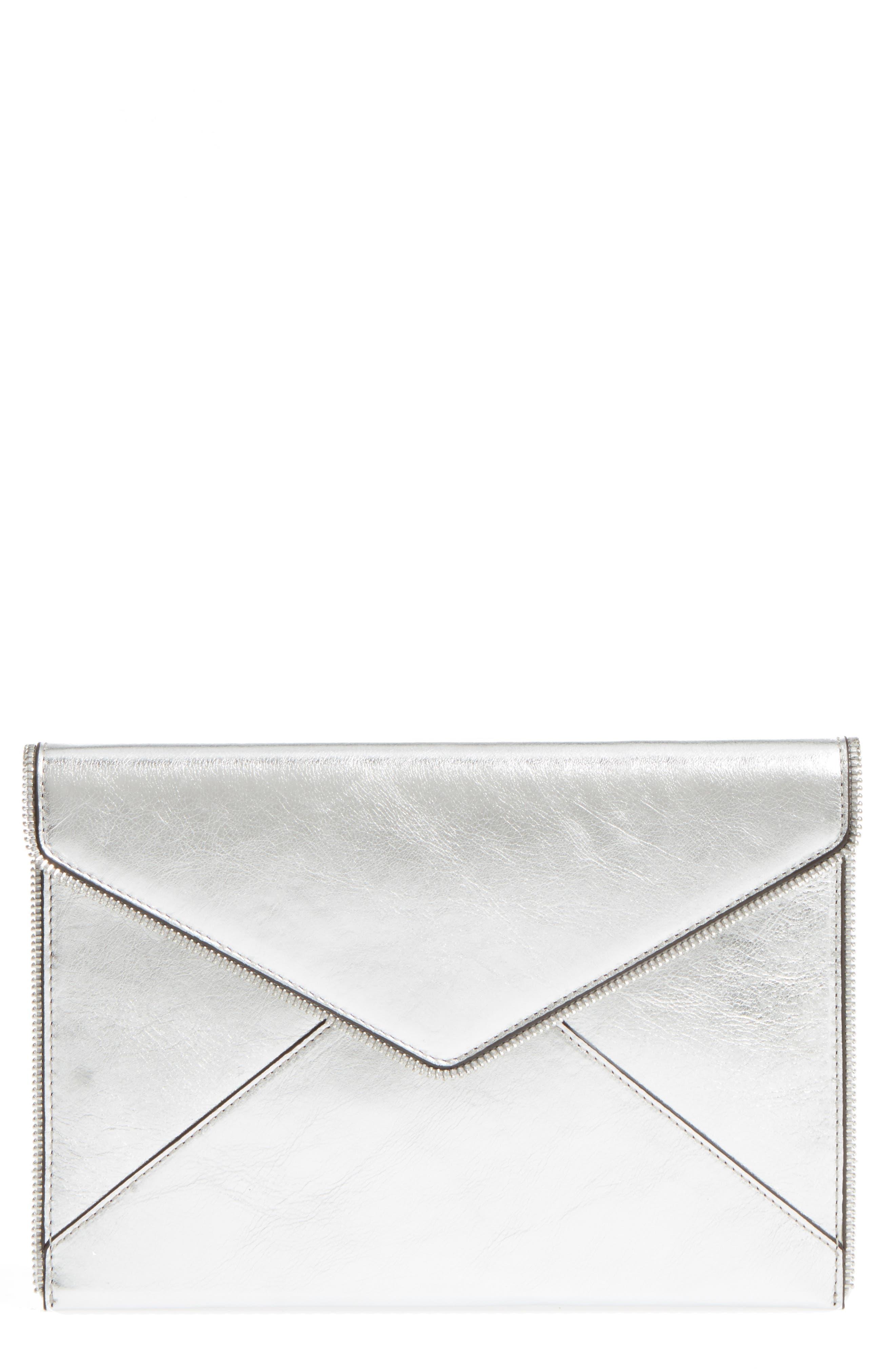 Main Image - Rebecca Minkoff Leo Mirror Metallic Envelope Clutch