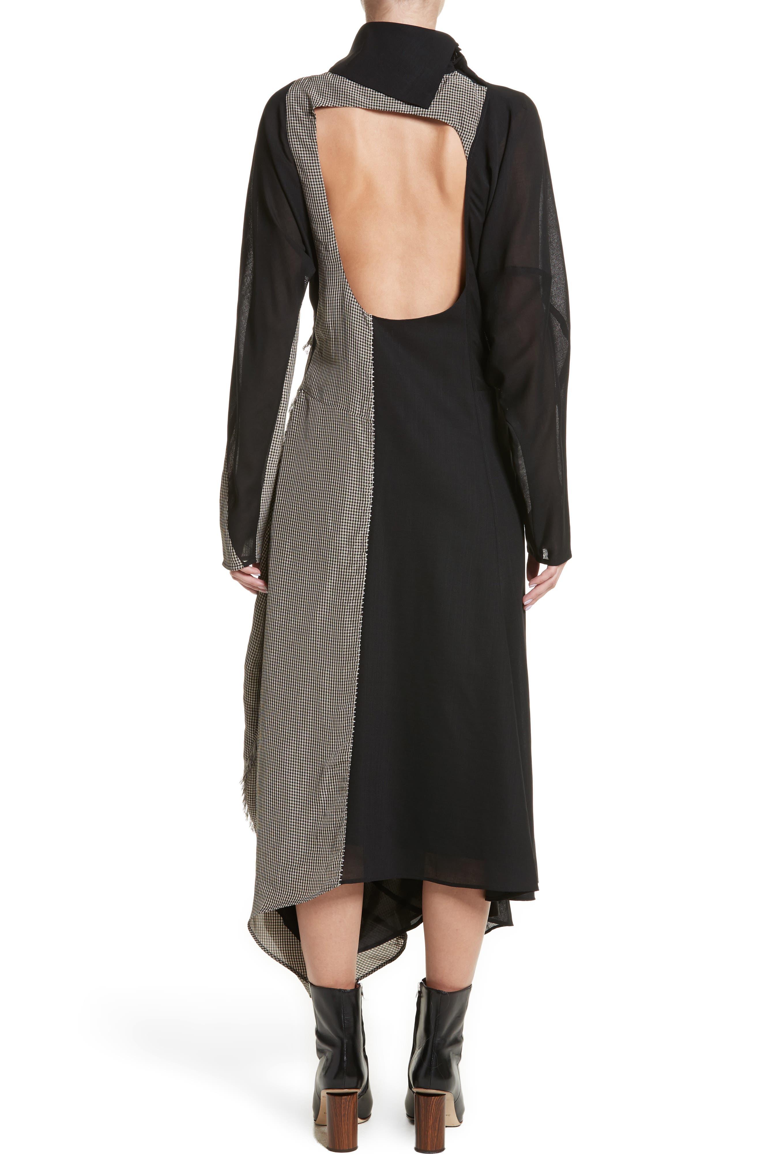 Dragica Mixed Media Dress,                             Alternate thumbnail 2, color,                             Black