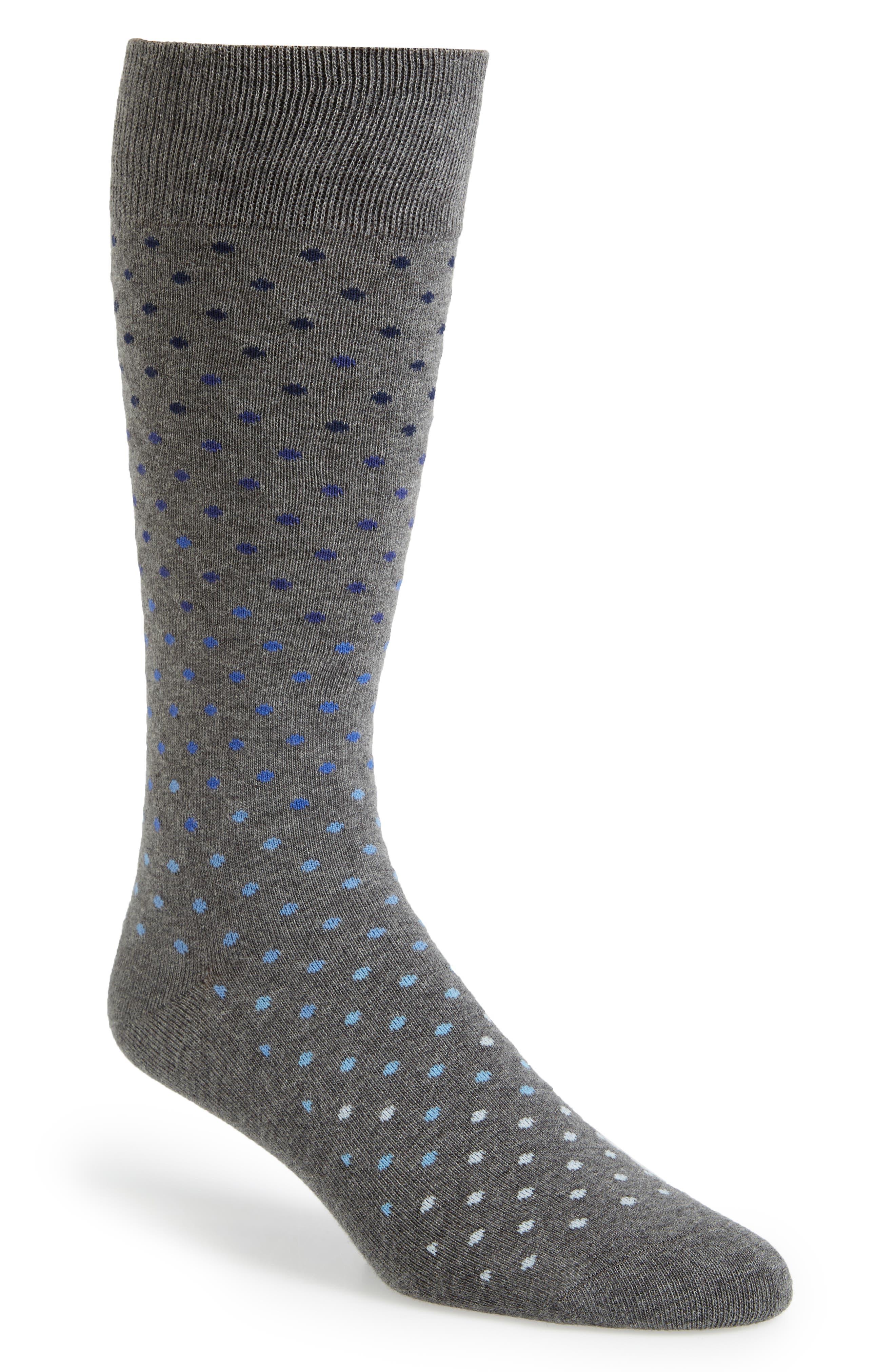 Dot Socks,                             Main thumbnail 1, color,                             Dark Grey Heather
