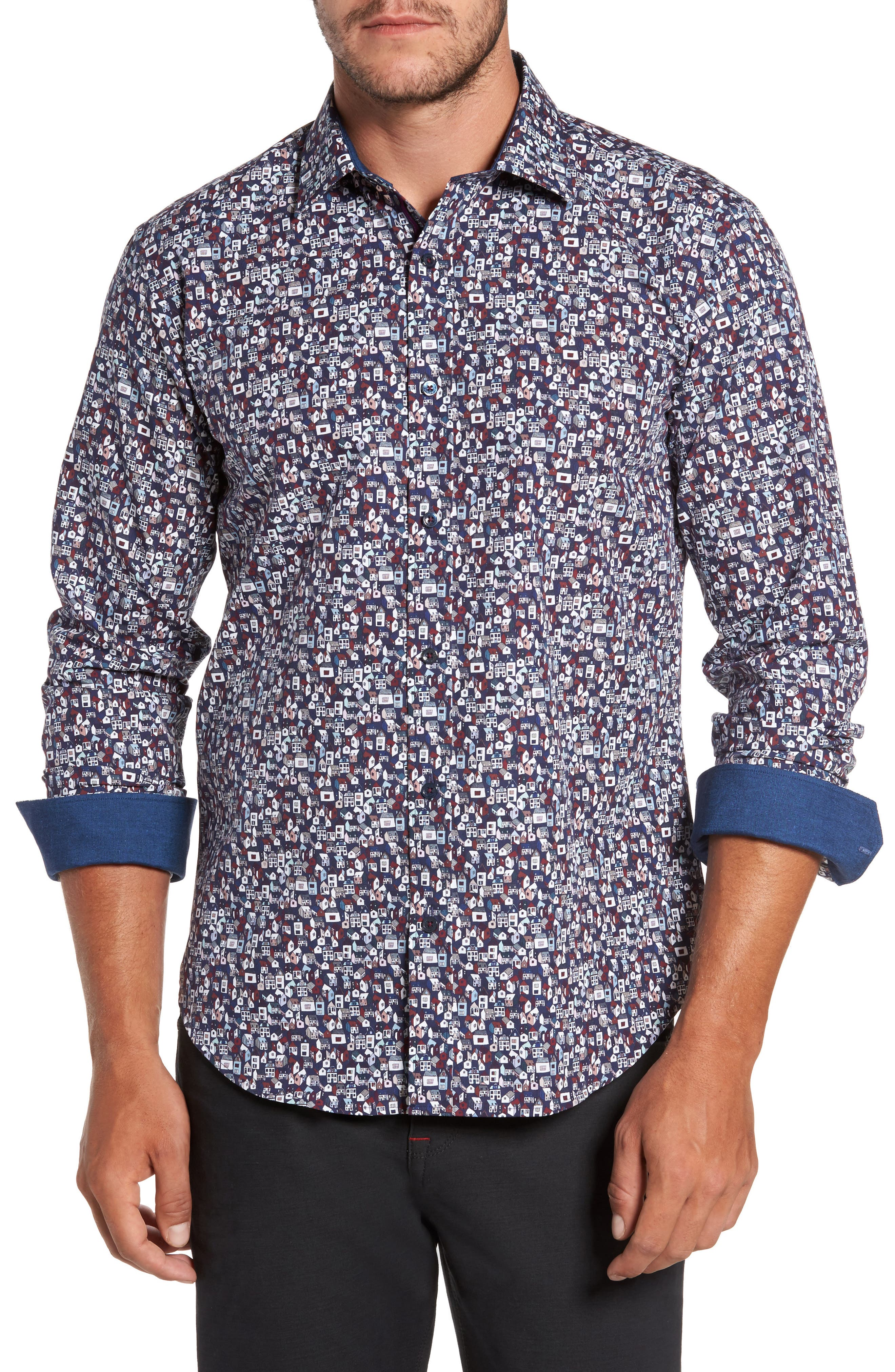 Shaped Fit Print Sport Shirt,                         Main,                         color, Midnight