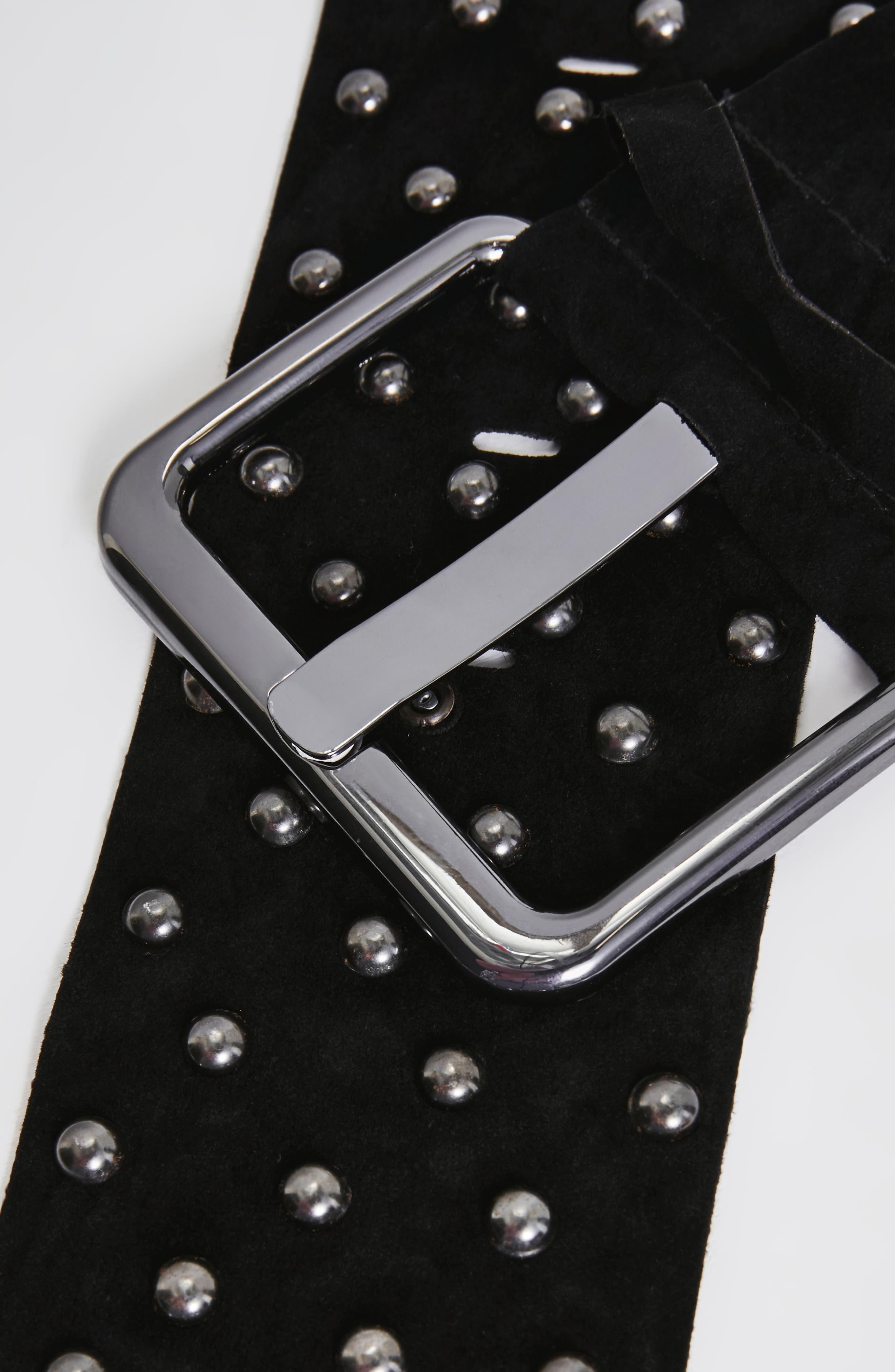 Studded Faux Suede Belt,                             Alternate thumbnail 3, color,                             Black