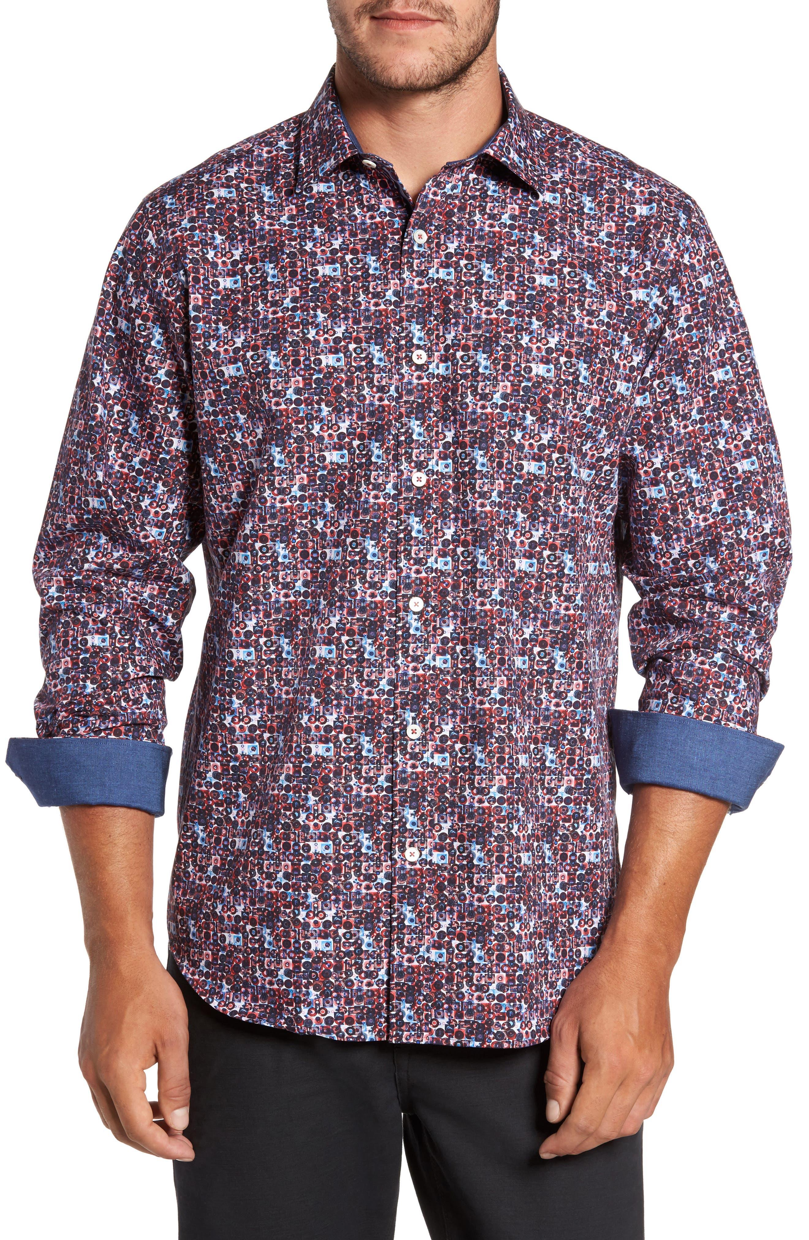 Classic Fit Print Sport Shirt,                         Main,                         color, Berry