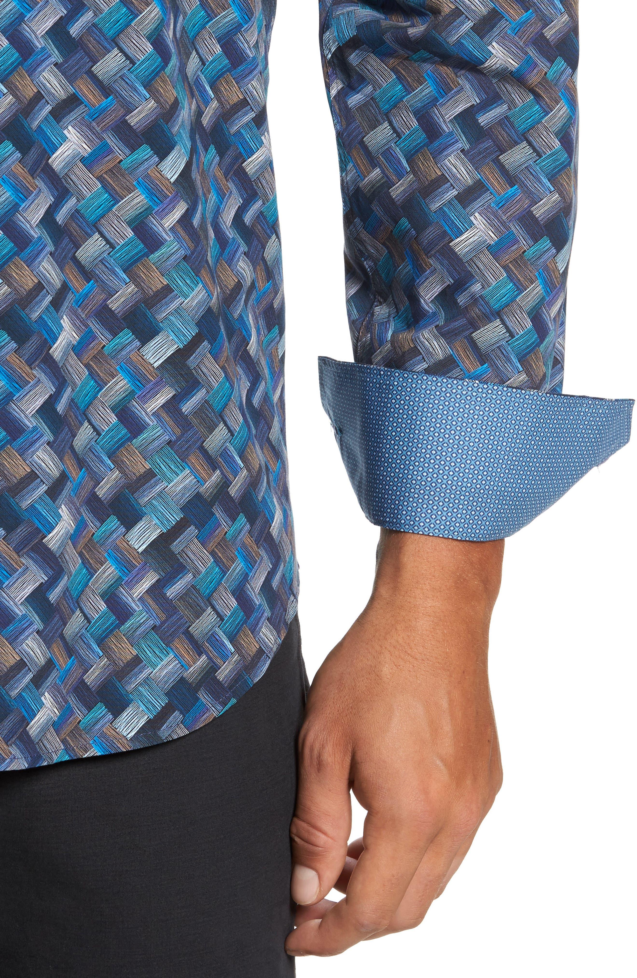 Alternate Image 4  - Bugatchi Classic Fit Basket Weave Print Sport Shirt