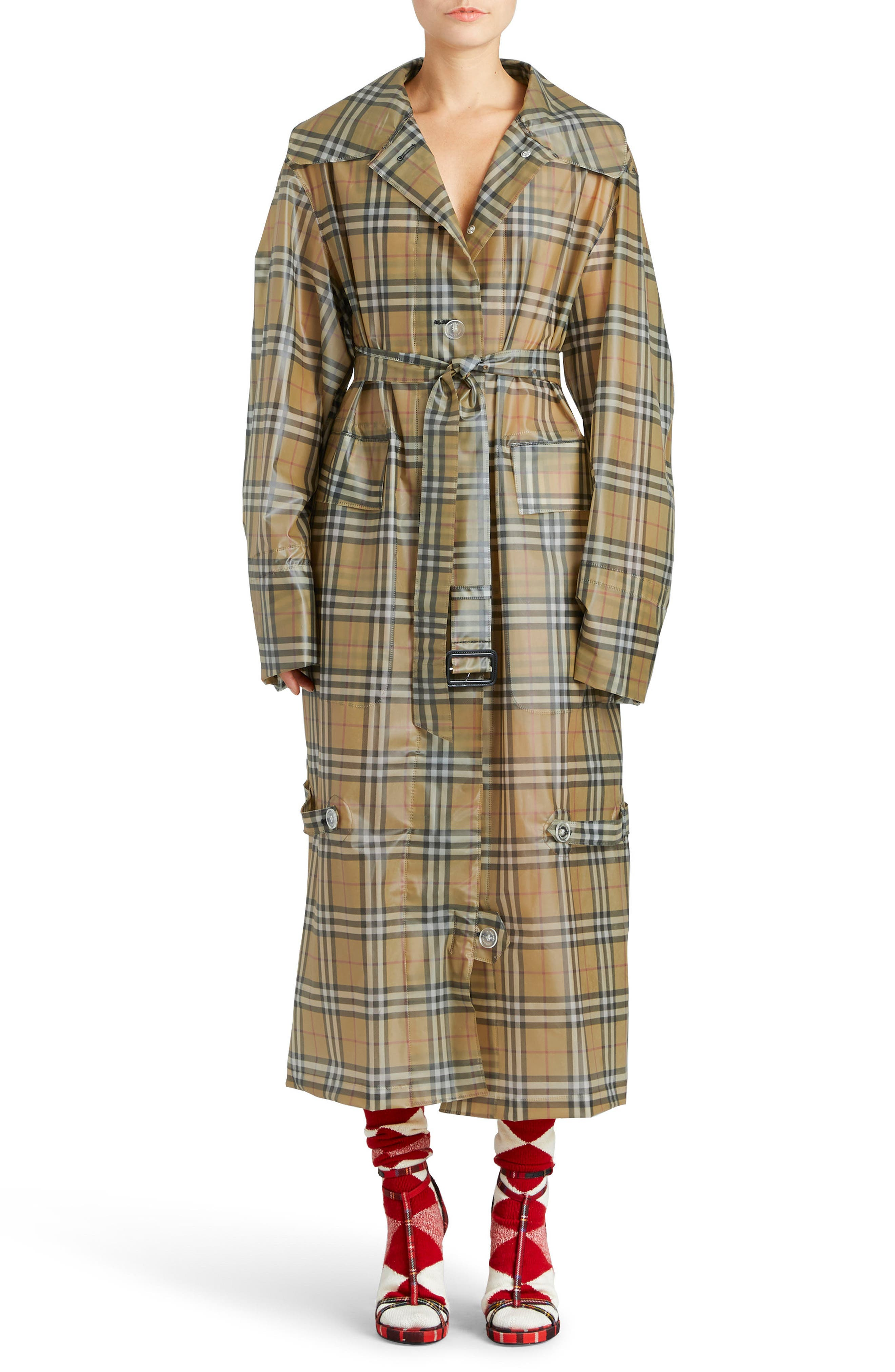 Vintage Check Plastic Trench Coat,                         Main,                         color, Antique Yellow Check