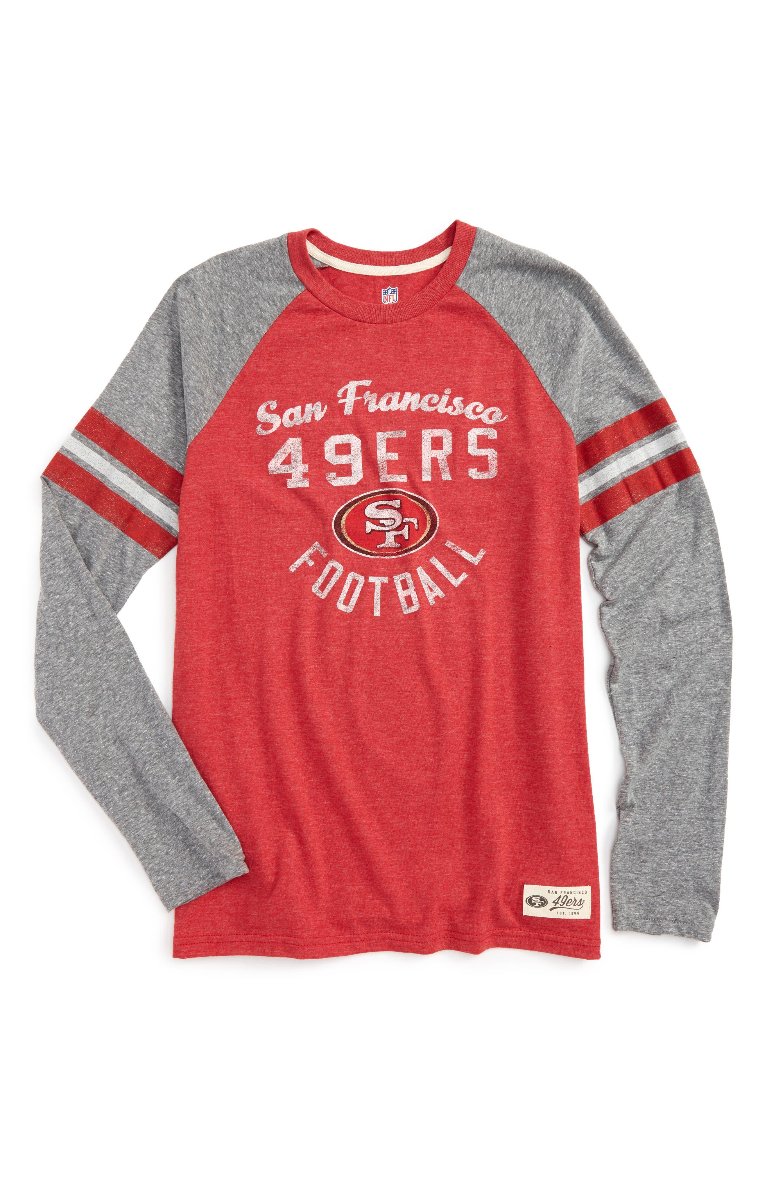 NFL San Francisco 49ers Distressed Logo T-Shirt,                         Main,                         color, Crimson