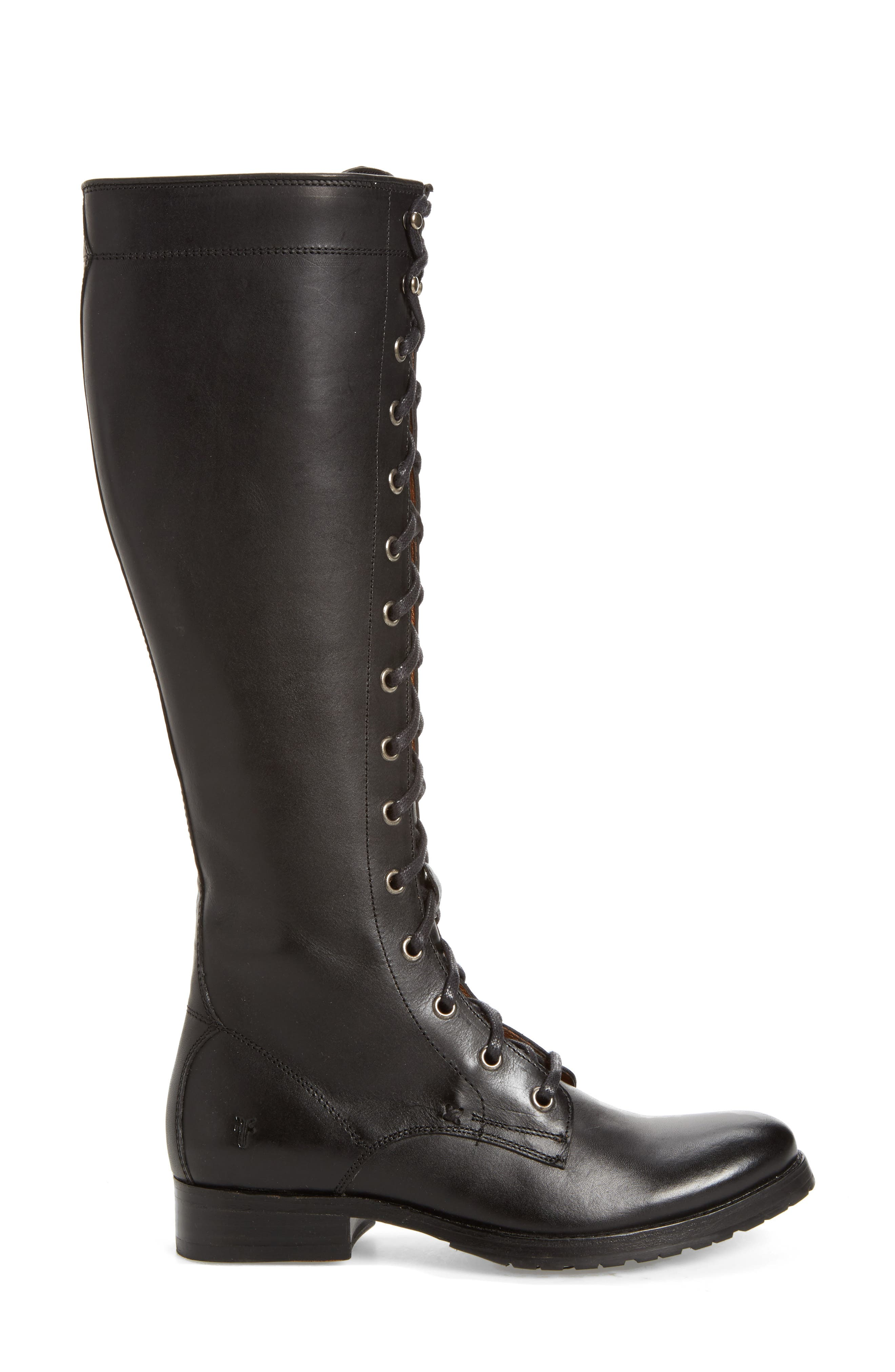 Melissa Tall Lace-Up Boot,                             Alternate thumbnail 3, color,                             Black Fabric