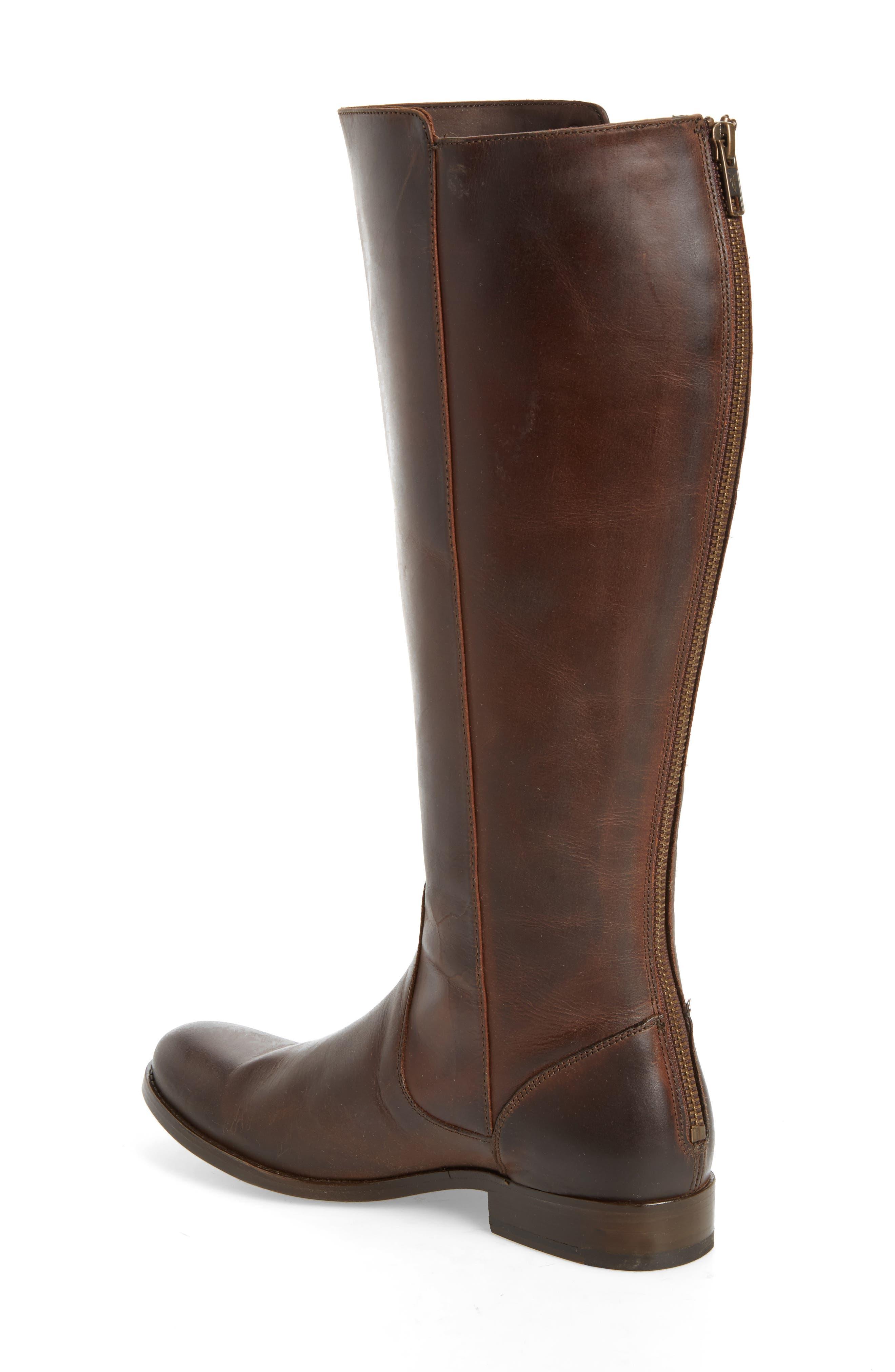 Melissa Stud Knee High Boot,                             Alternate thumbnail 2, color,                             Chocolate Leather