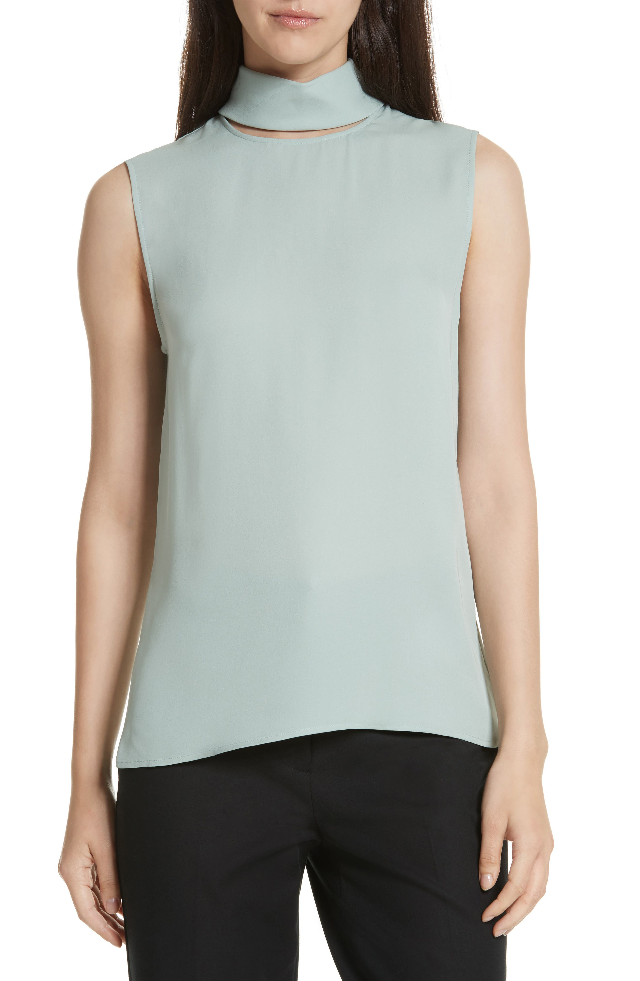 Classic Slit Collar Silk Top,                         Main,                         color, Winter Green