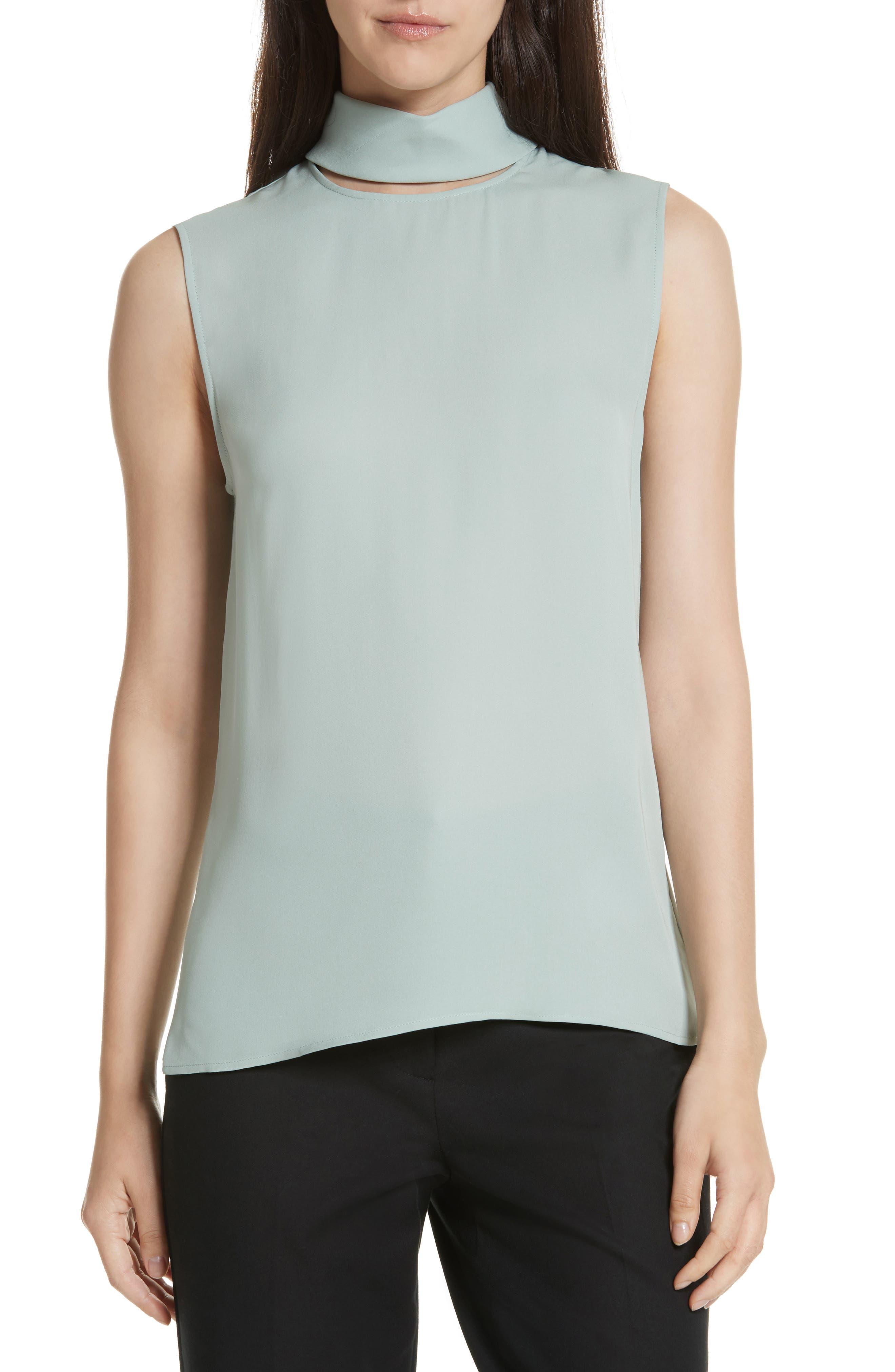 Theory Classic Slit Collar Silk Top
