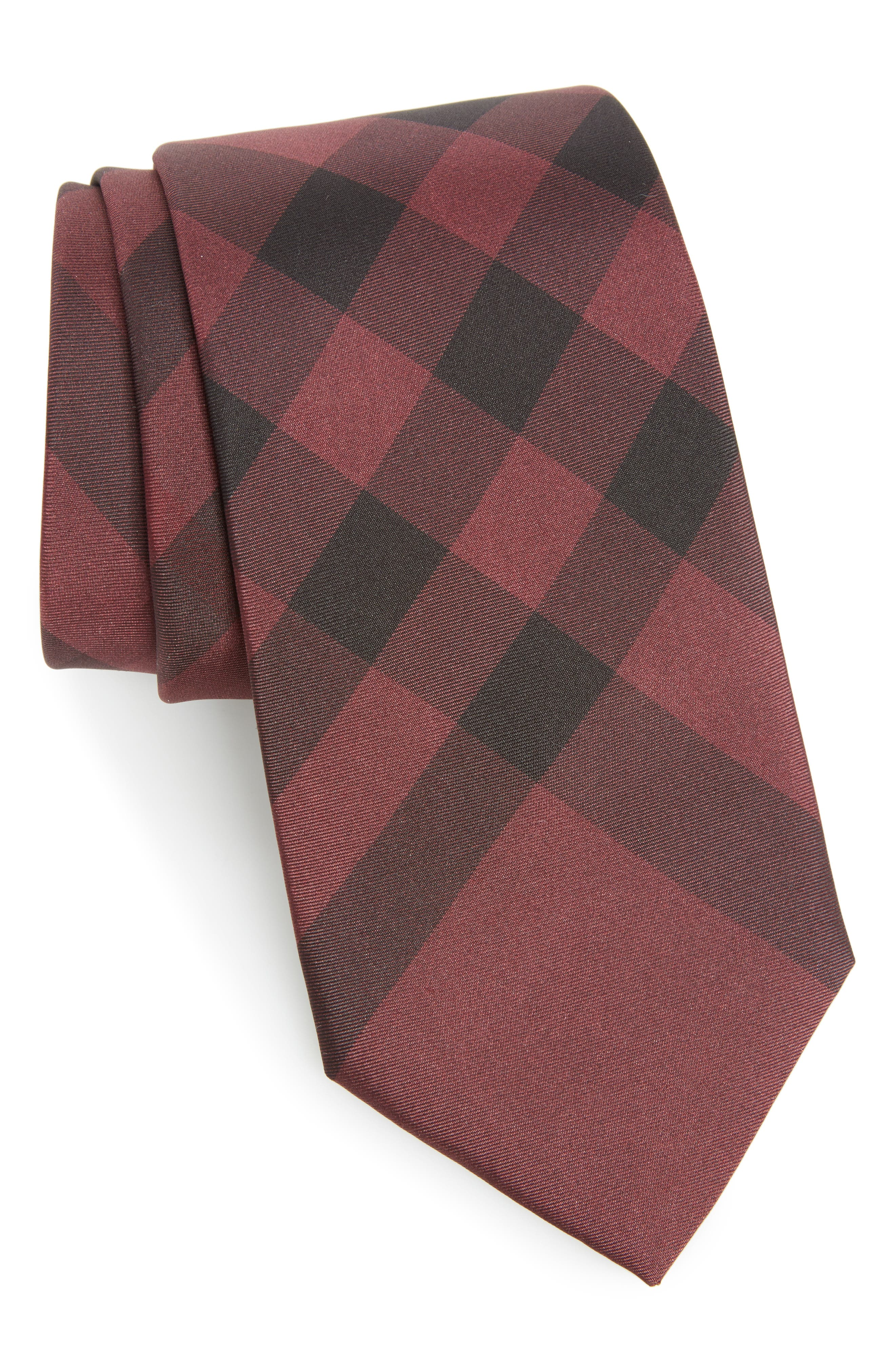 Exploded Scale Check Silk Tie,                         Main,                         color, Plum Pink