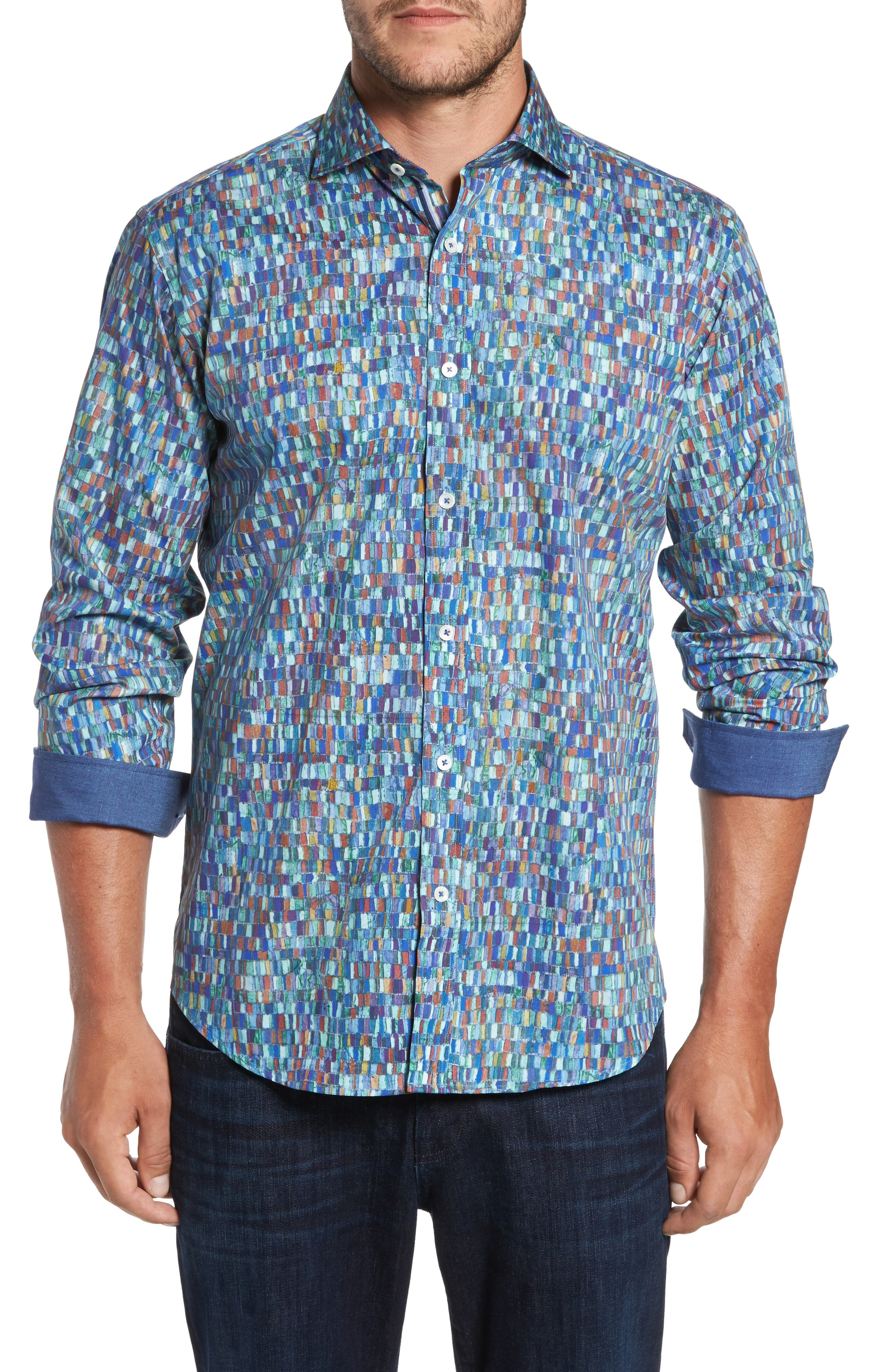 Classic Fit Mosaic Print Sport Shirt,                         Main,                         color, Jade