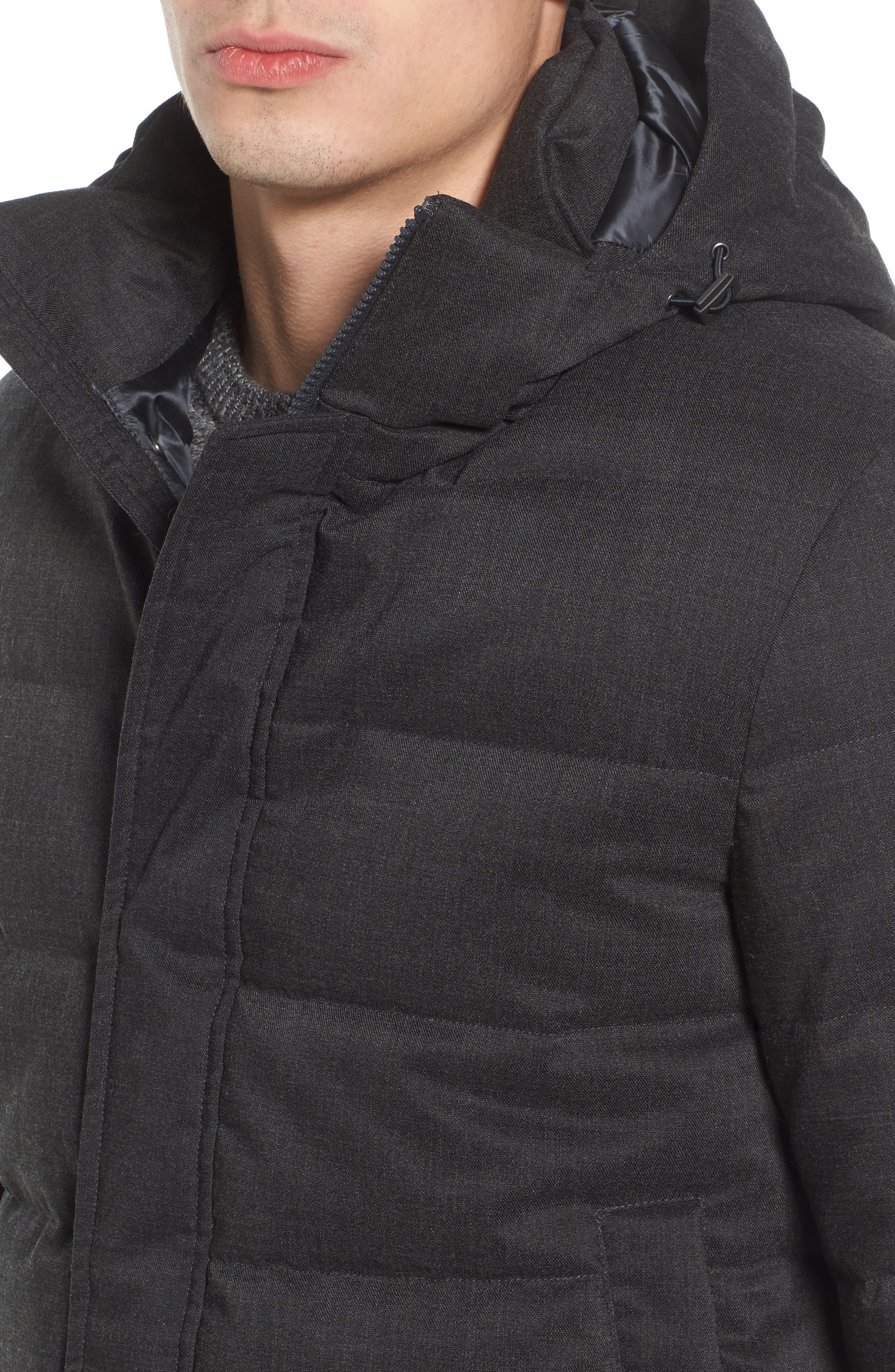 Techno Quilted Waterproof Down Jacket,                             Alternate thumbnail 4, color,                             Charcoal