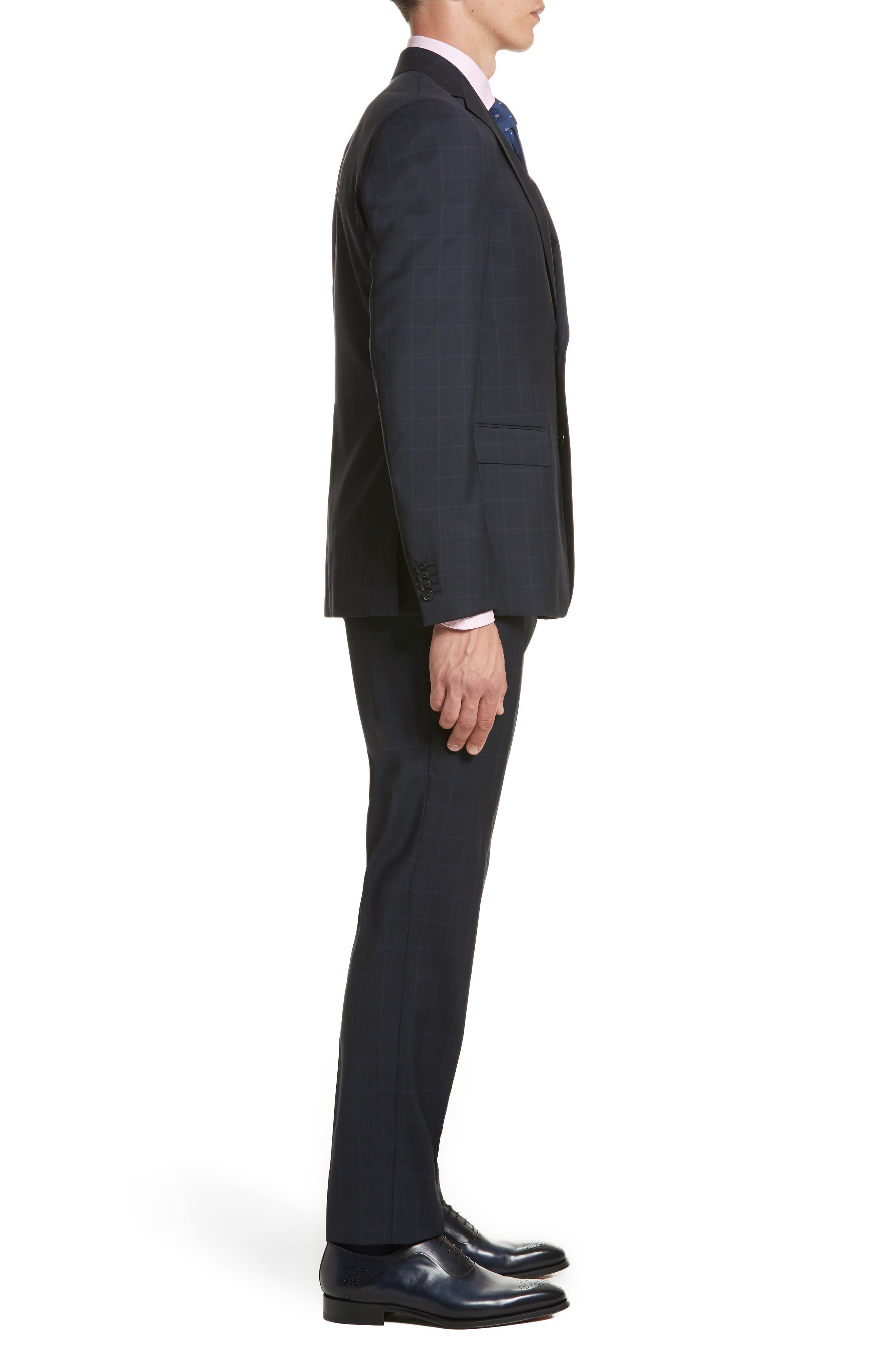 Classic Fit Windowpane Wool Suit,                             Alternate thumbnail 3, color,                             Navy Check