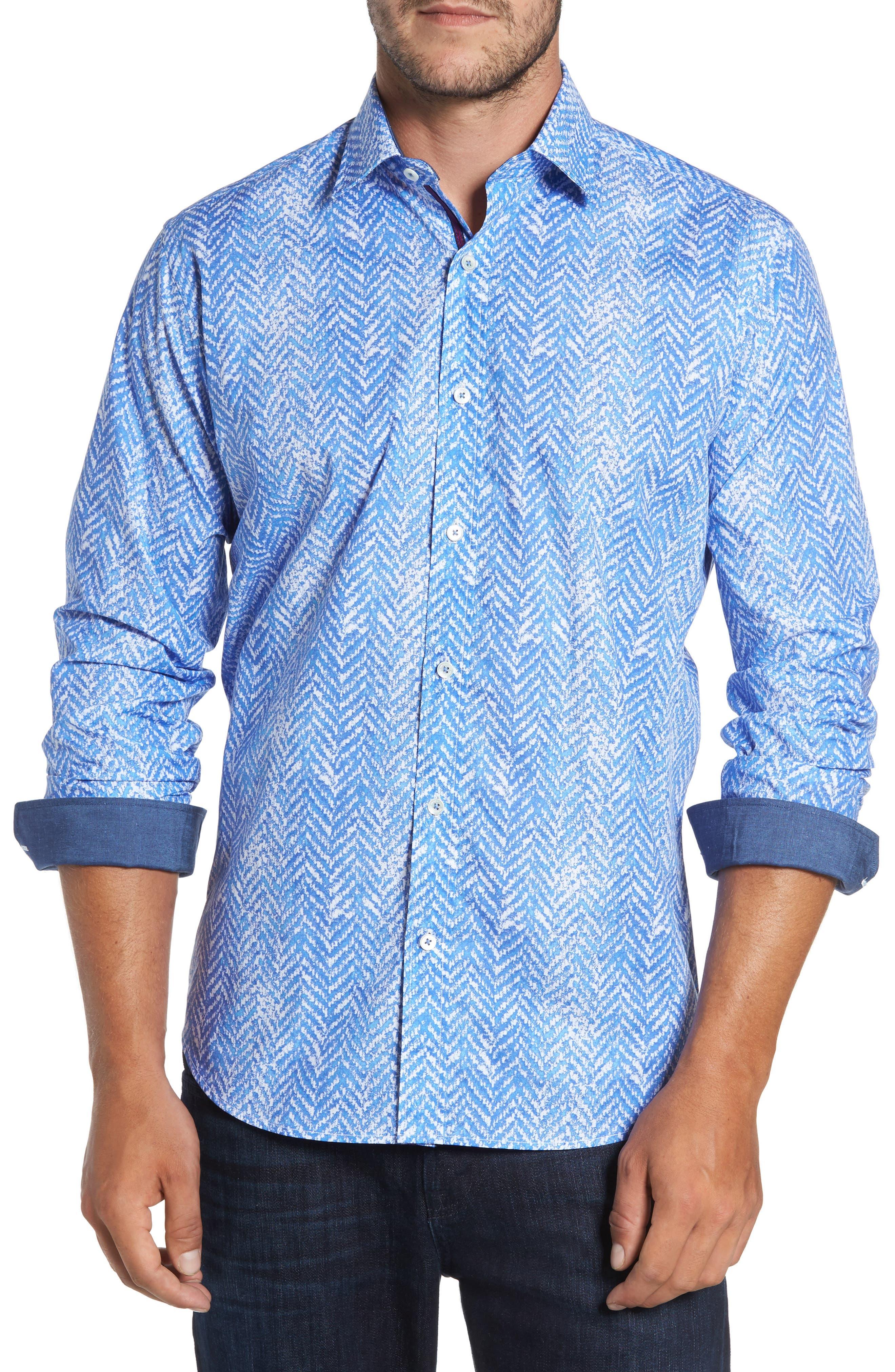 Classic Fit Herringbone Print Sport Shirt,                         Main,                         color, Air Blue
