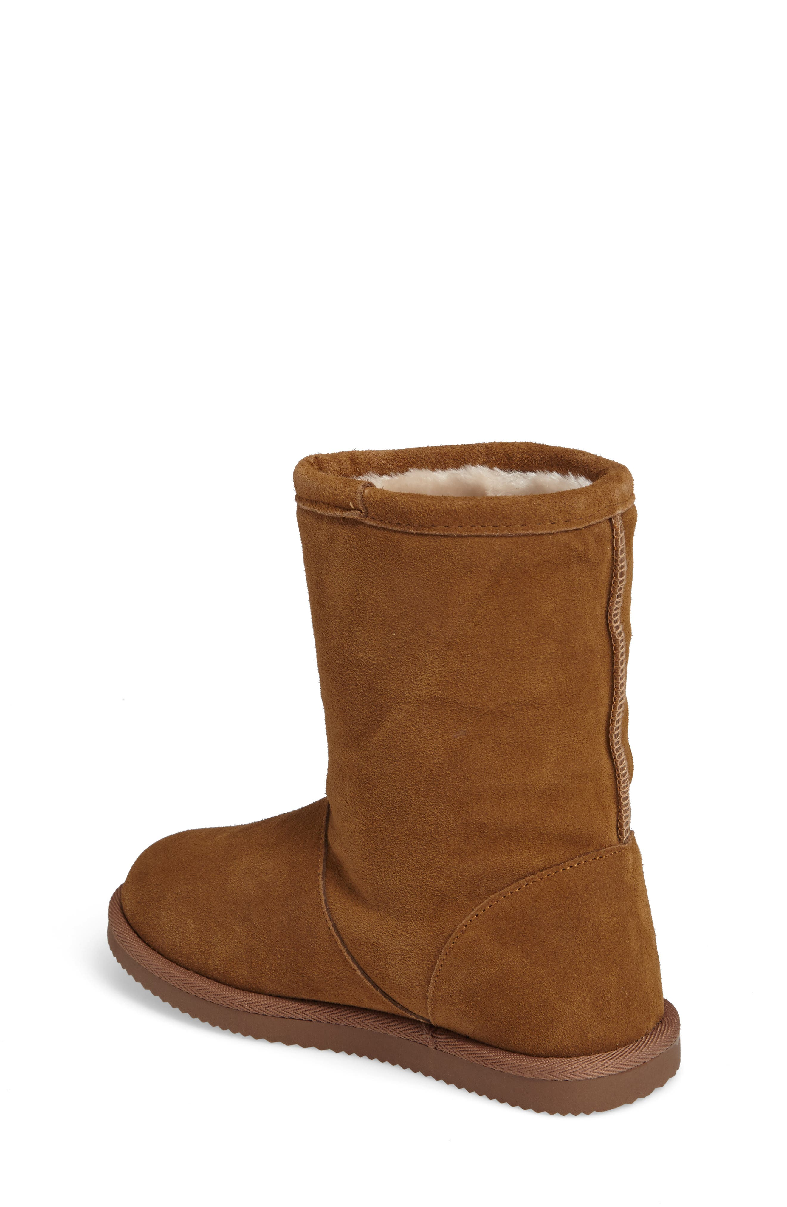 Aline Embroidered Faux Fur Boot,                             Alternate thumbnail 2, color,                             Chestnut Suede