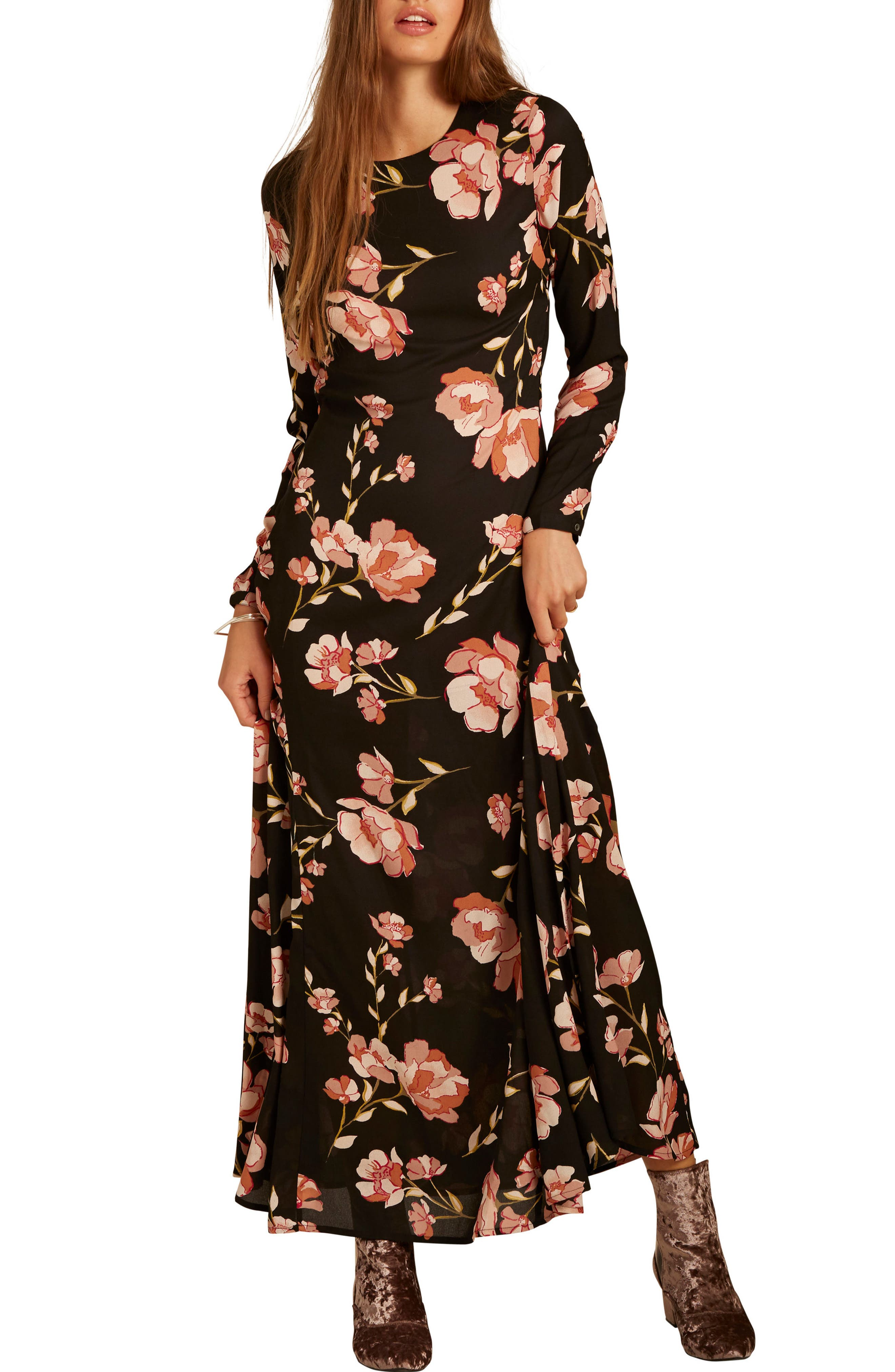 Floral Print Maxi Dress,                             Alternate thumbnail 2, color,                             Black