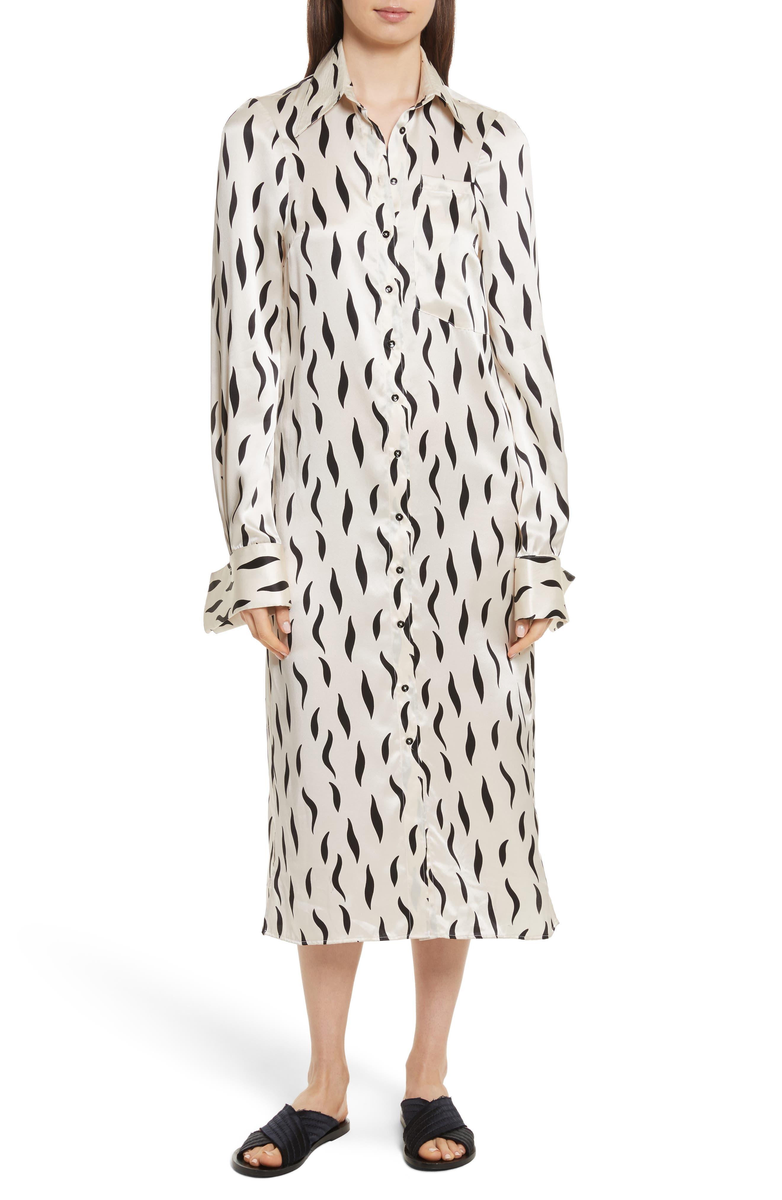 Cassidy Long Zebra Silk Dress,                         Main,                         color, Ecru/ Black