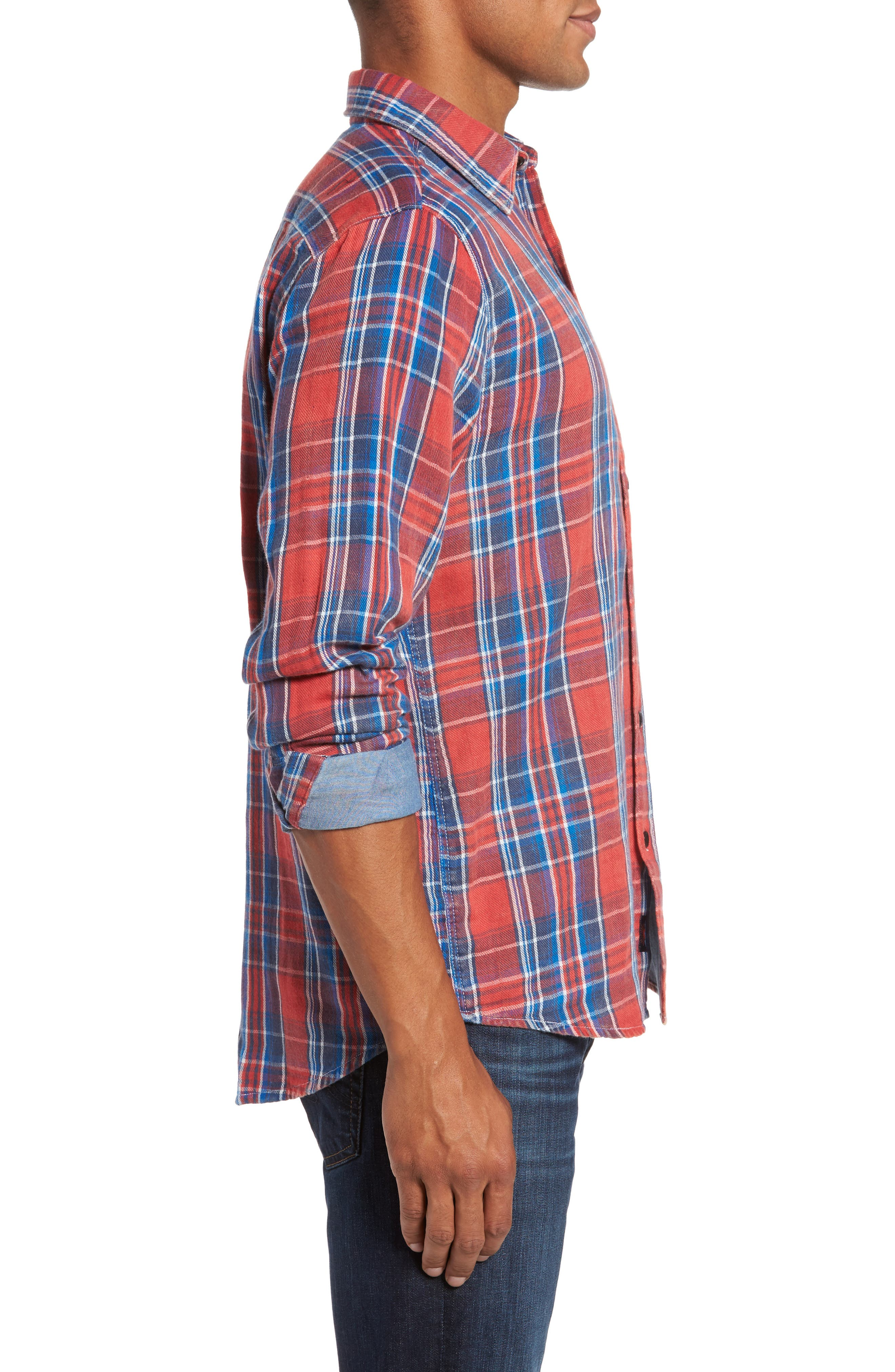 Plaid Sport Shirt,                             Alternate thumbnail 3, color,                             Red Farmer Plaid